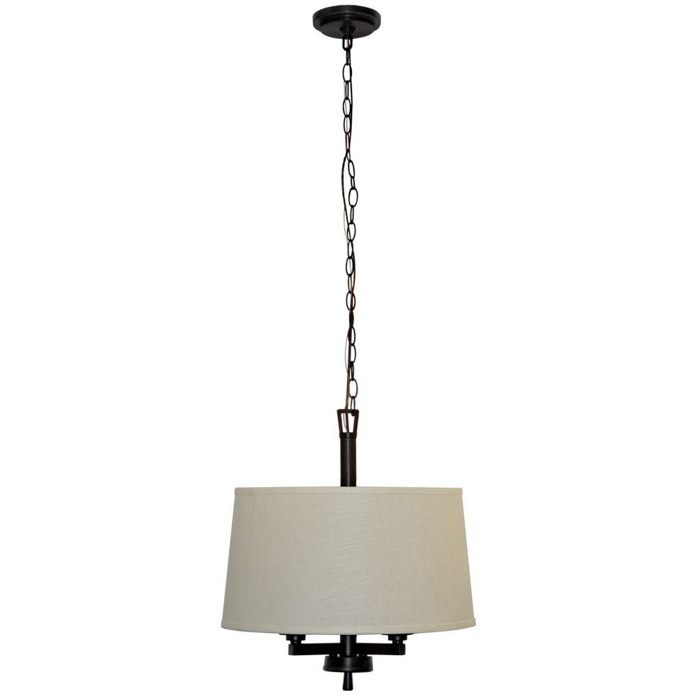 Hampton Bay Atchison 3 Light Oil Rubbed Bronze Drum Pendant With White Linen Shade In Burton 5 Light Drum Chandeliers (View 23 of 30)