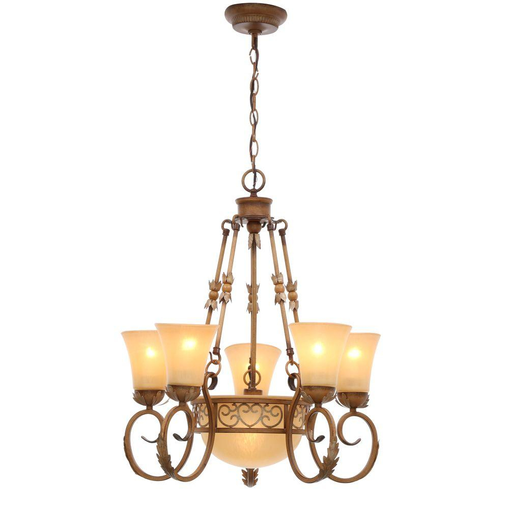 Hampton Bay Florentina 6 Light Amandale Chandelier With Satin Avorio Glass Shades Intended For Florentina 5 Light Candle Style Chandeliers (View 16 of 30)