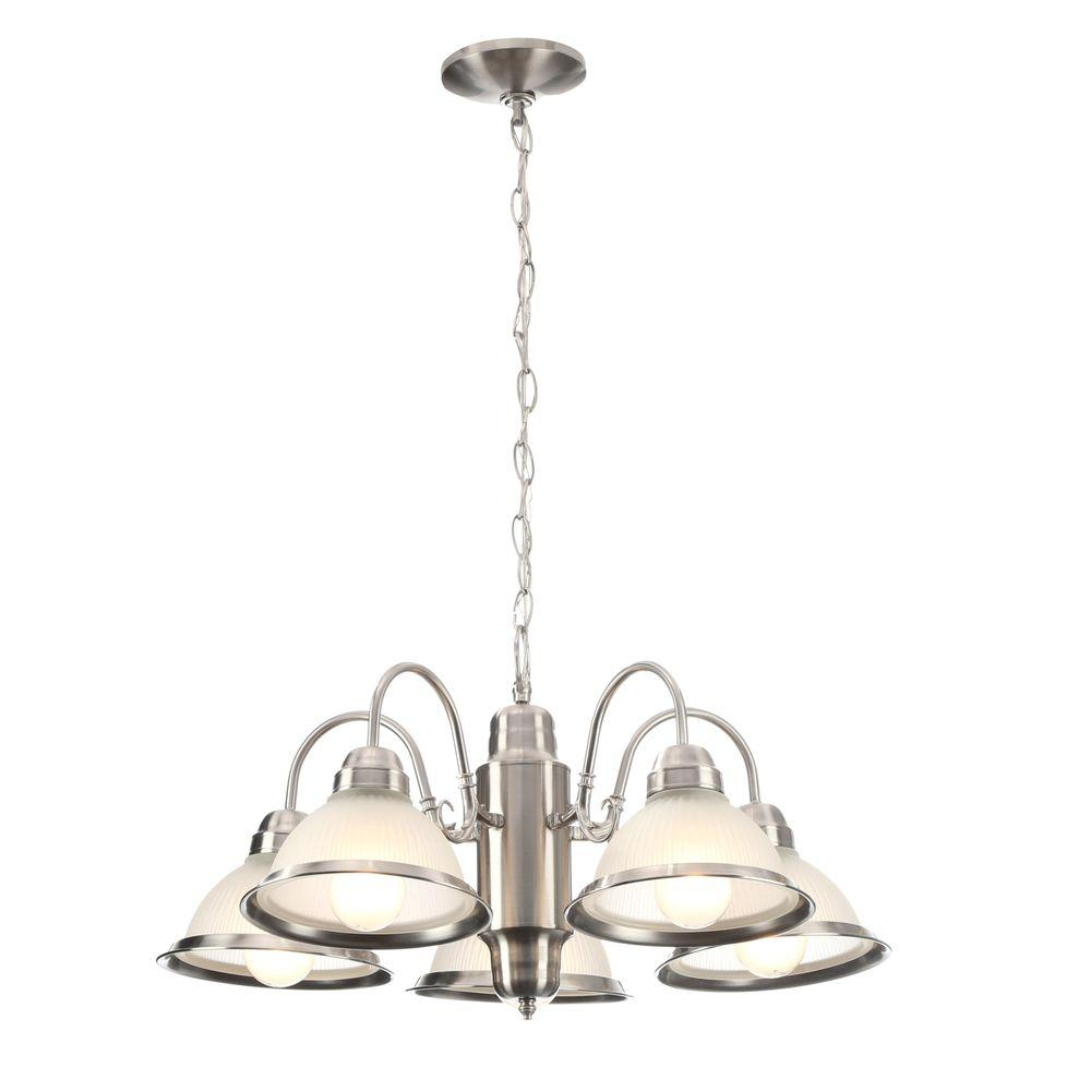 Hampton Bay Halophane 5 Light Brushed Nickel Chandelier With Frosted Ribbed Glass Shades Intended For Sherri 6 Light Chandeliers (View 15 of 30)