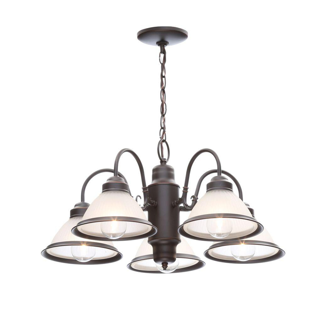 Hampton Bay Halophane 5-Light Oil Rubbed Bronze Chandelier With Frosted  Ribbed Glass Shades within Sherri 6-Light Chandeliers (Image 16 of 30)