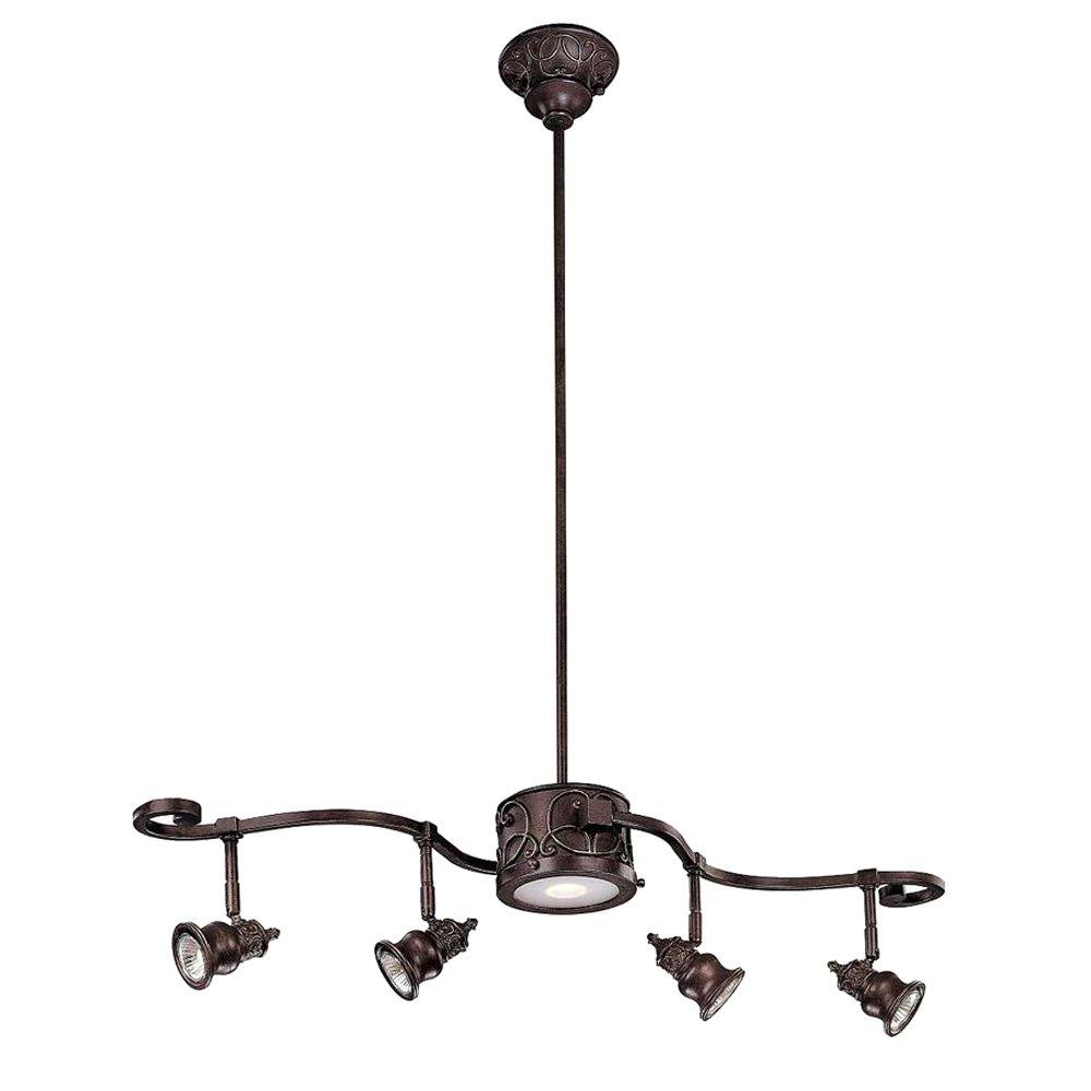 Hampton Bay Kara 5 Light Bronze Track Lighting Pertaining To Smithville 4 Light Kitchen Island Pendants (View 18 of 30)
