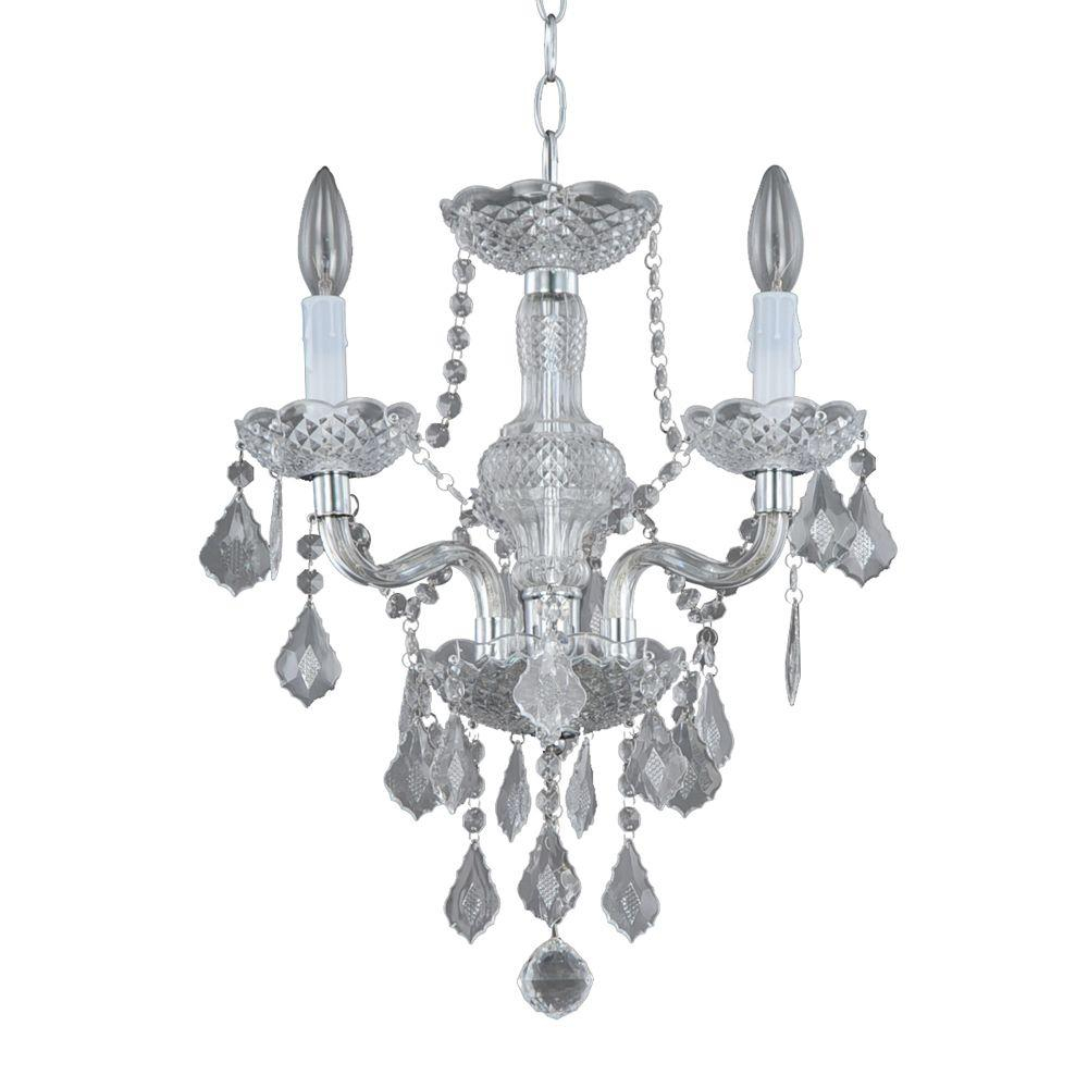 Hampton Bay Maria Theresa 3 Light Chrome And Clear Acrylic Mini Chandelier Intended For Emaria 3 Light Single Drum Pendants (View 18 of 30)