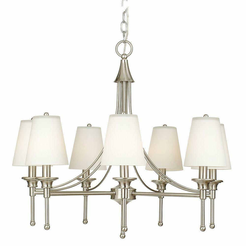 Hampton Bay Sadie Collection 7-Light Satin Nickel Chandelier pertaining to Whitten 4-Light Crystal Chandeliers (Image 17 of 30)