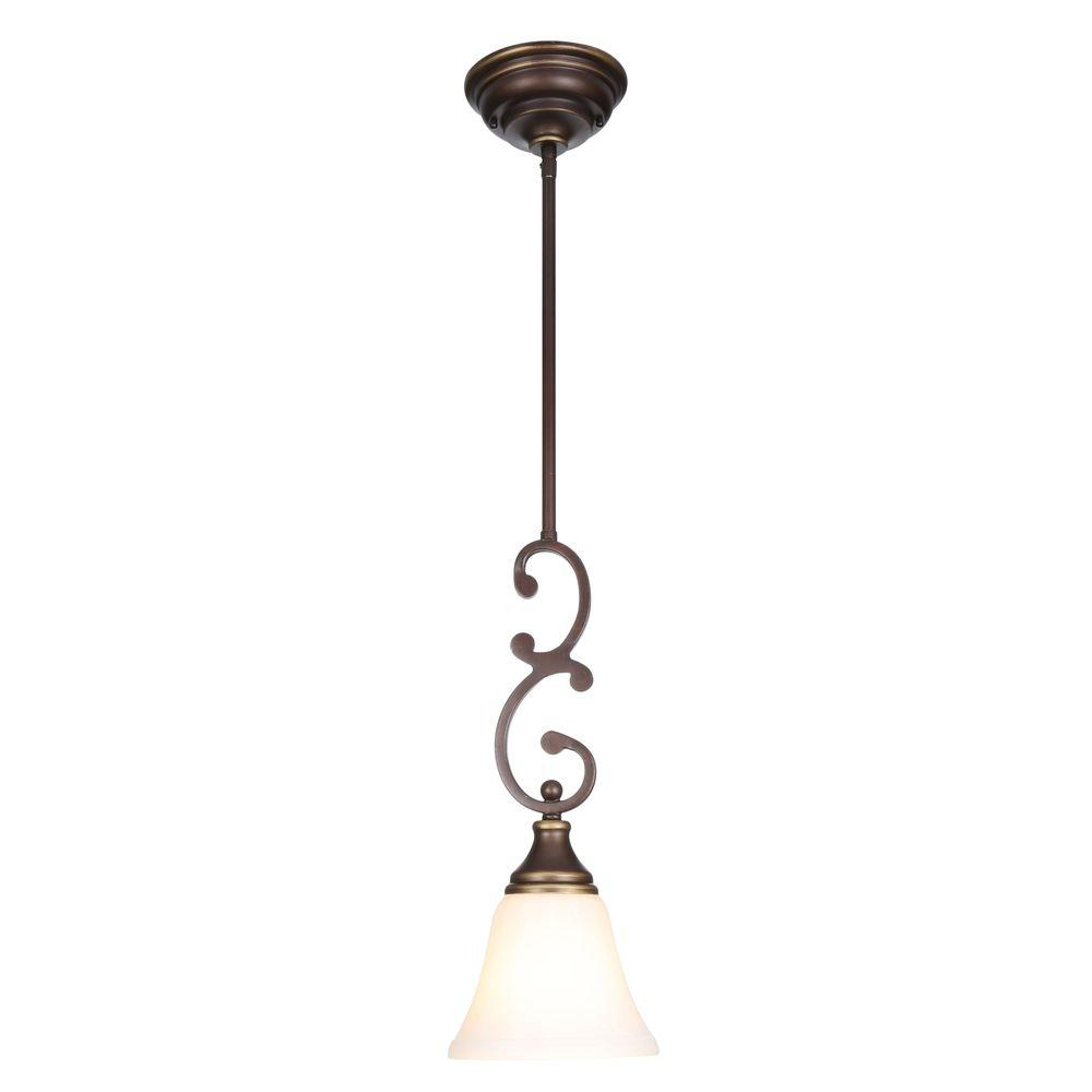 Hampton Bay Somerset 1-Light Oil-Rubbed Bronze Mini Pendant With Bell  Shaped Frosted Glass Shade with 1-Light Single Bell Pendants (Image 13 of 30)