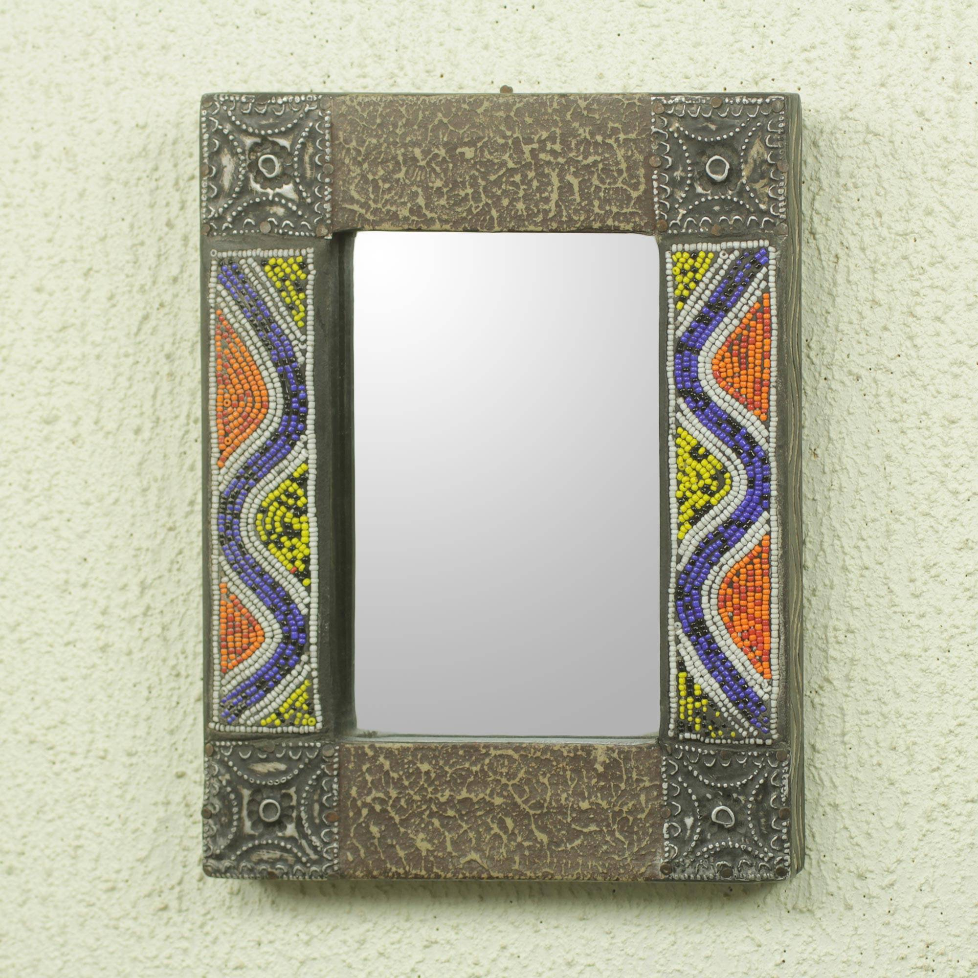 Hand Beaded Wood Wall Mirror With Metal Accents, 'ahoufe I' Inside Beaded Accent Wall Mirrors (View 16 of 30)