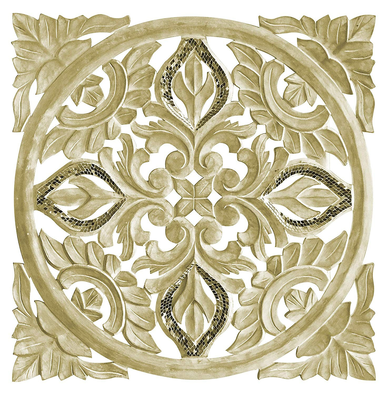 Hand Carved 24 In. Decorative Wood Wall Panel In Rustic with Scroll Panel Wall Decor (Image 15 of 30)