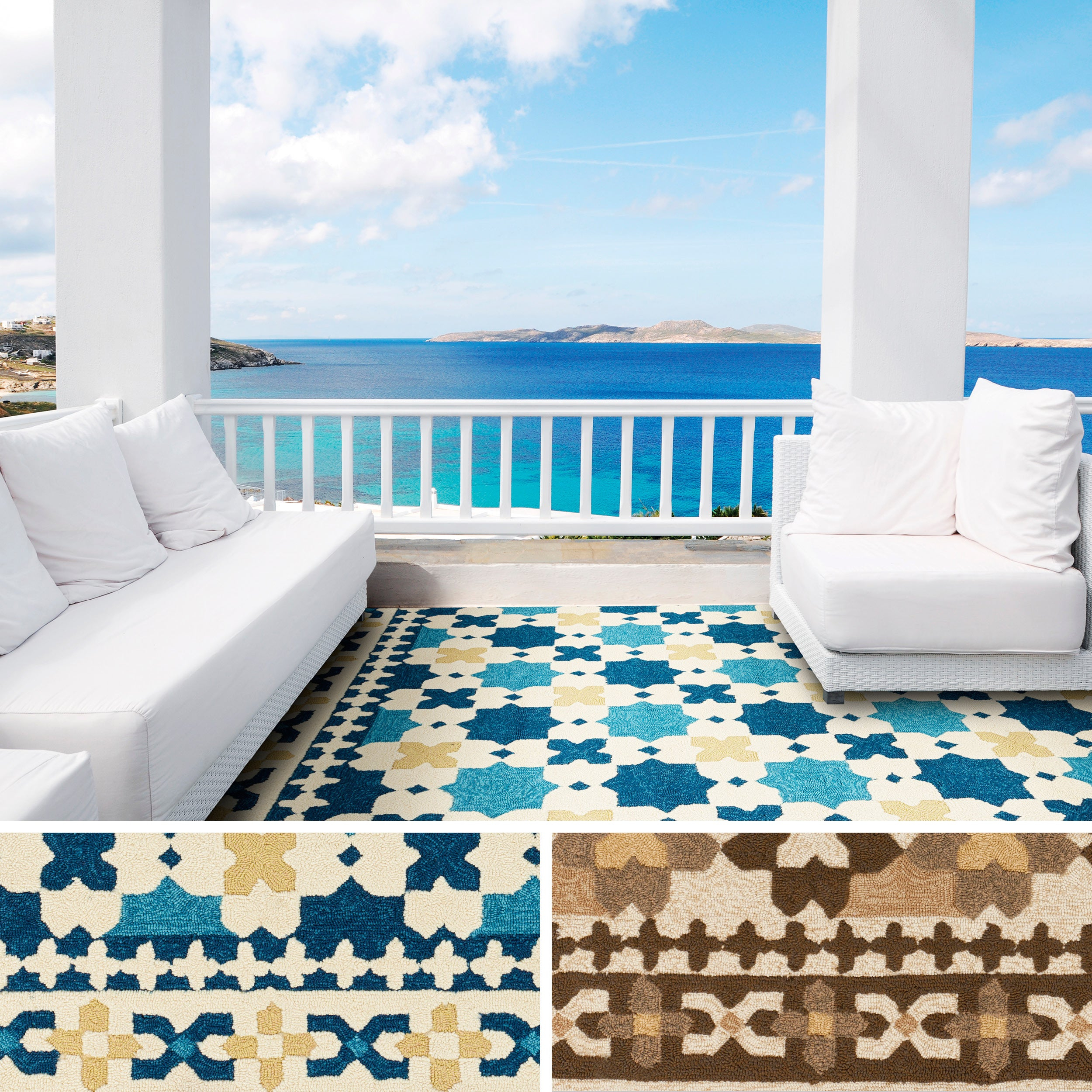 Hand Hooked Melora Contemporary Geometric Indoor/ Outdoor Area Rug Inside Melora 1 Light Single Geometric Pendants (View 12 of 30)