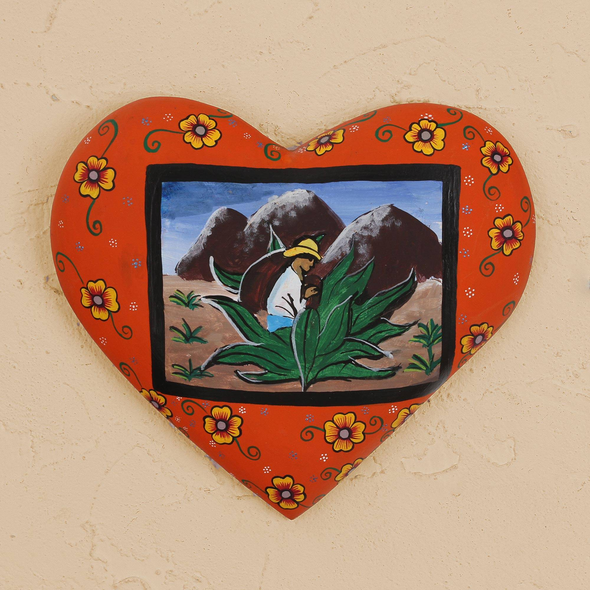 Hand Painted Heart Shaped Wood Wall Art From Mexico, 'agave Harvest' Intended For 2 Piece Heart Shaped Fan Wall Decor Sets (View 21 of 30)