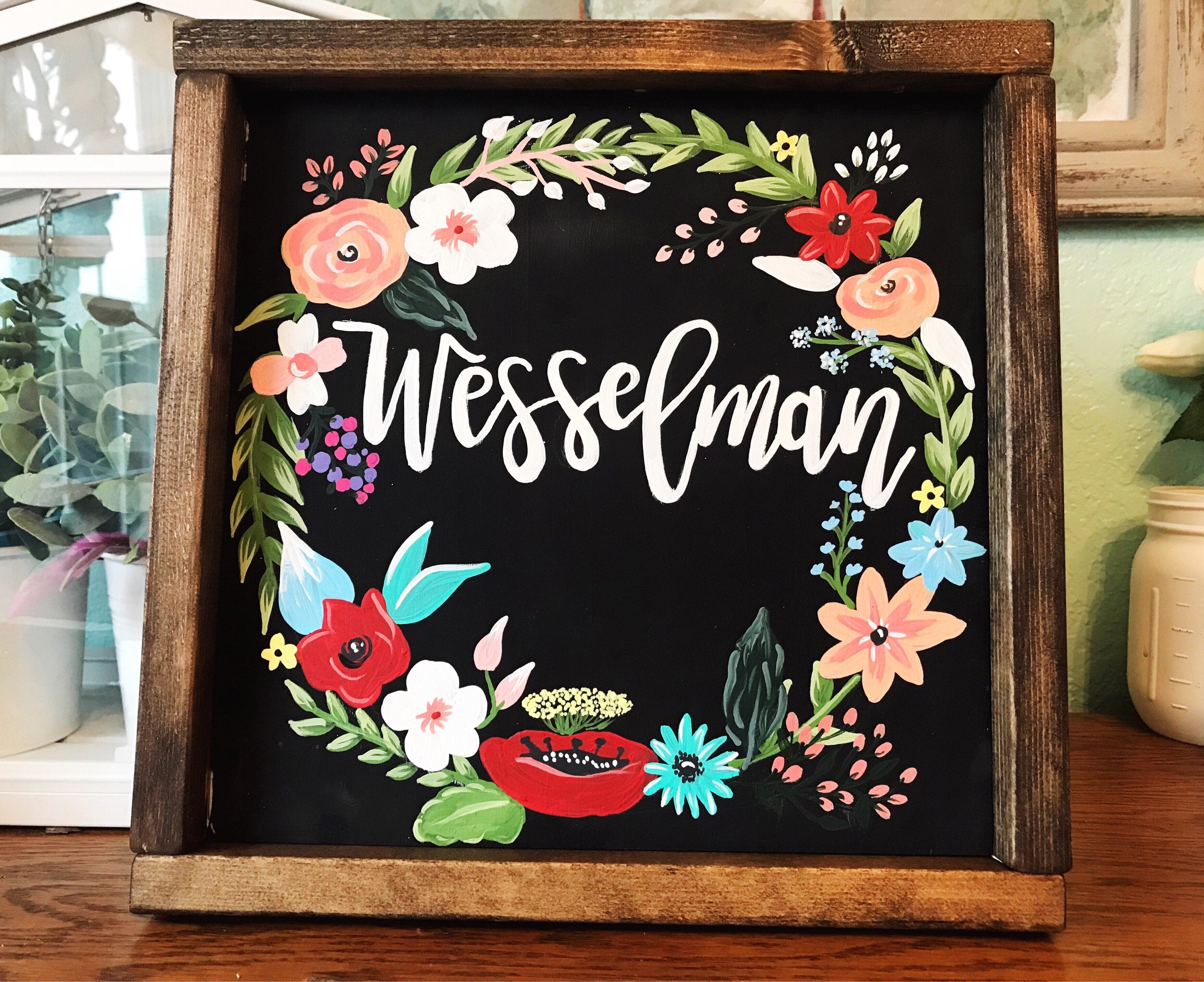 Hand Painted Wood Sign, Floral Wreath Sign, Floral Wall Decor, Hello Sign,  Hand Painted Flowers, Gallery Wall Sign, Last Name Sign with regard to Floral Wreath Wood Framed Wall Decor (Image 20 of 30)