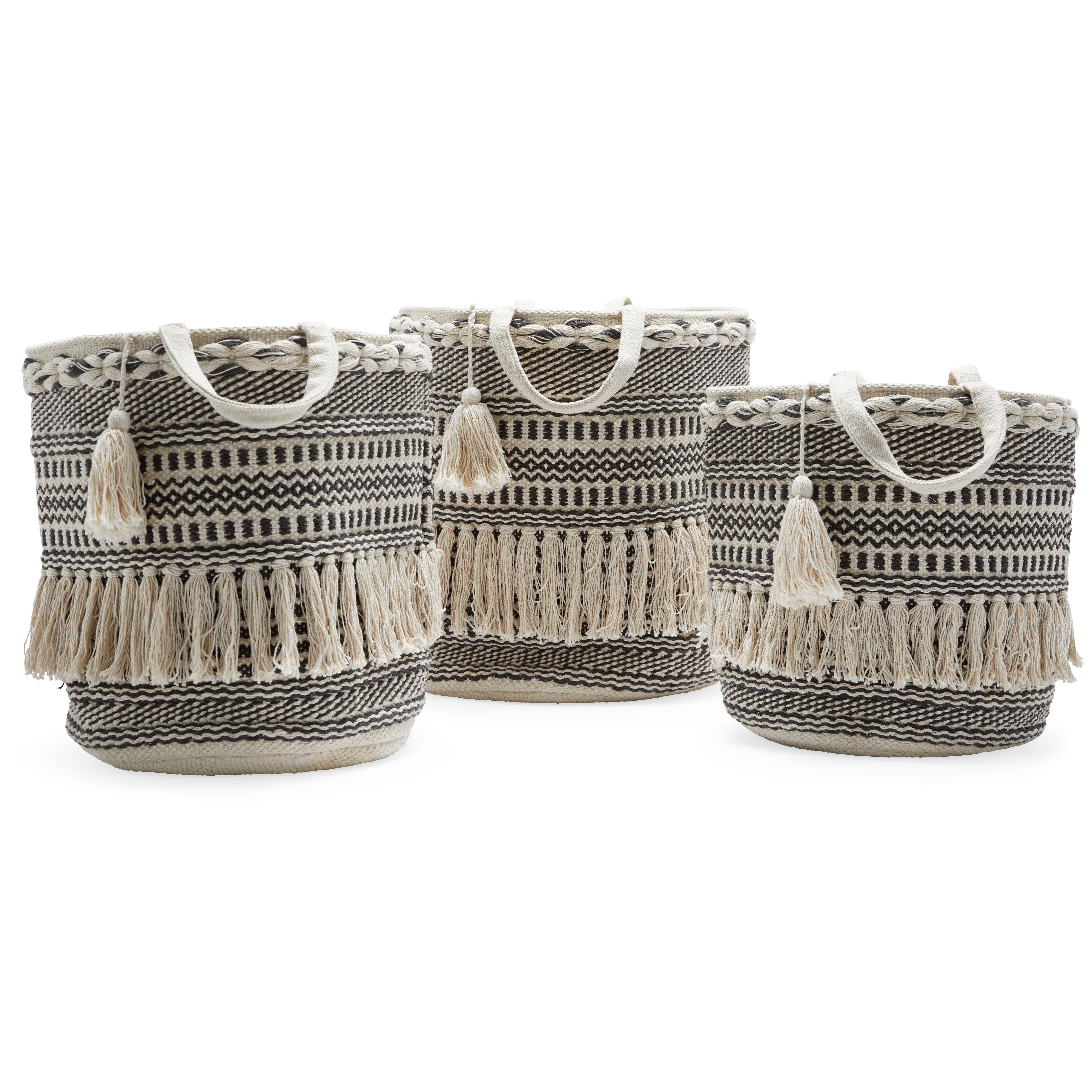 Hand Woven Macrame 3 Piece Basket Set, Natural And Black pertaining to 4 Piece Handwoven Wheel Wall Decor Sets (Image 20 of 30)