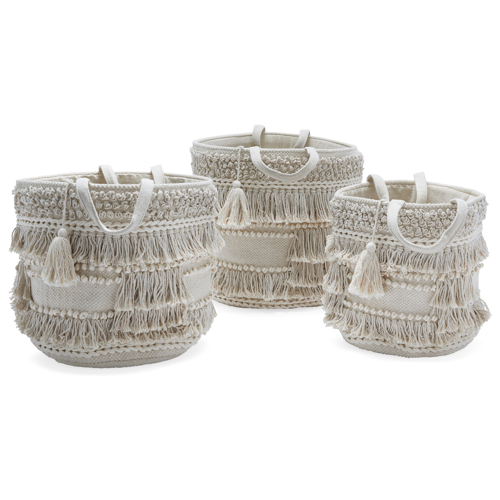 Hand Woven Macrame 3 Piece Basket Set, Naturaldrew within 4 Piece Handwoven Wheel Wall Decor Sets (Image 21 of 30)