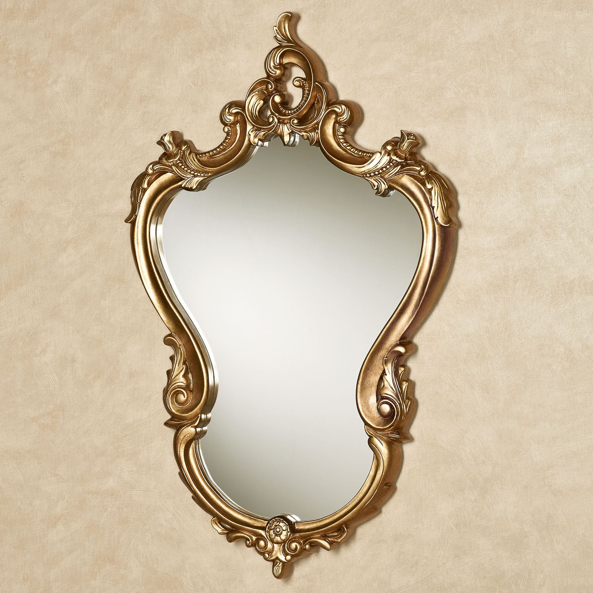 Hansa Aged Gold Shaped Wall Mirror within Medallion Accent Mirrors (Image 15 of 30)
