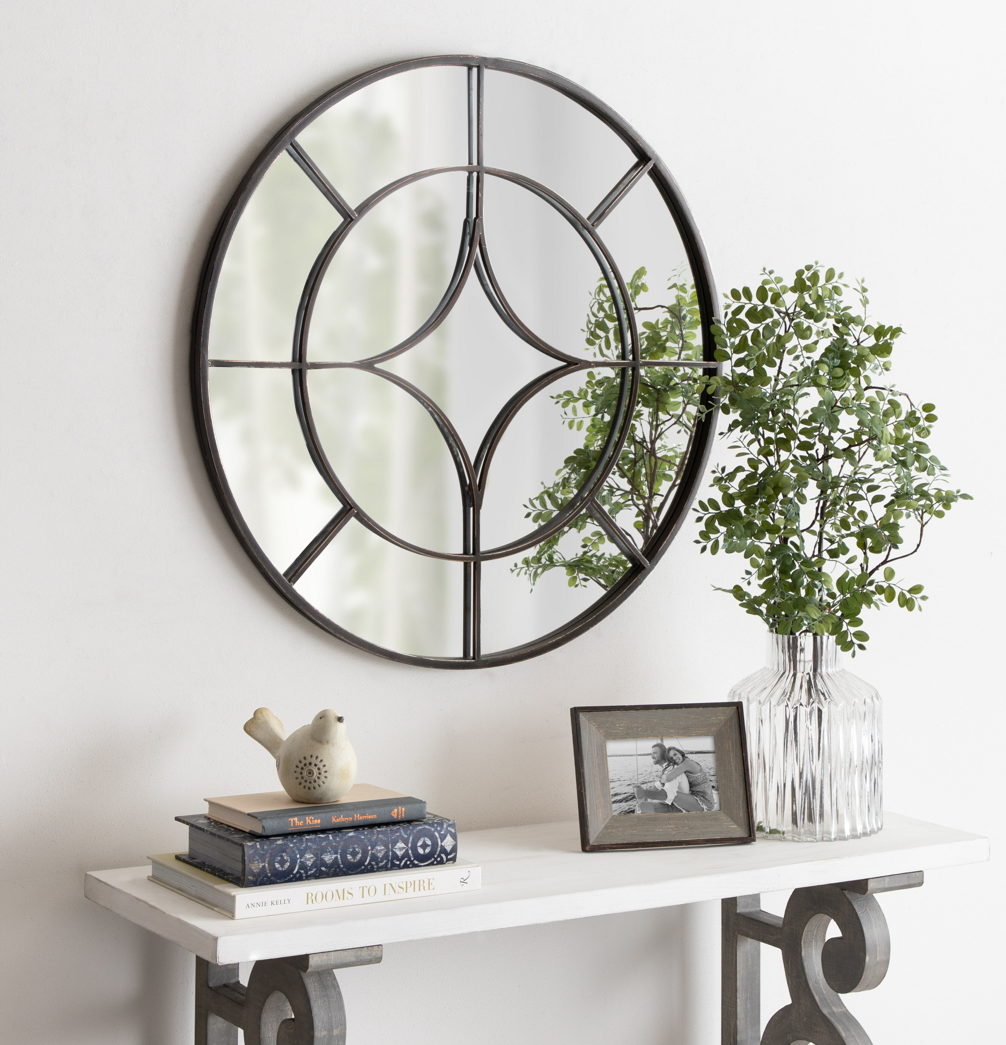 Hanska Industrial Modern Overlaid Beveled Frameless Accent Mirror Pertaining To Peetz Modern Rustic Accent Mirrors (Image 15 of 30)