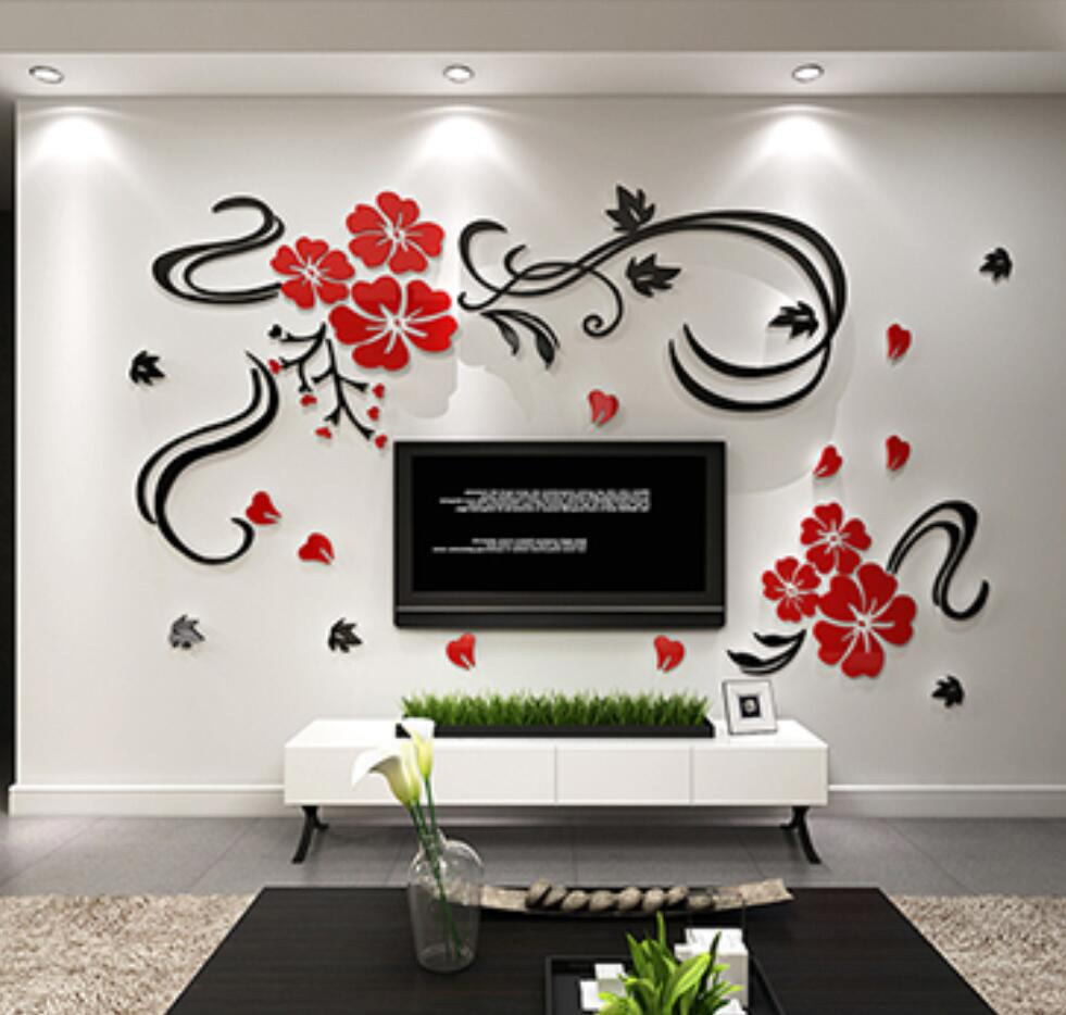 Happy Flower Vine Flowers Rich Three Dimensional Crystal Acrylic Sticker Modern Tv Sofa Wall Backdrop Home Decor Wall Stickers In Wall Stickers From Intended For Three Flowers On Vine Wall Decor (View 7 of 30)