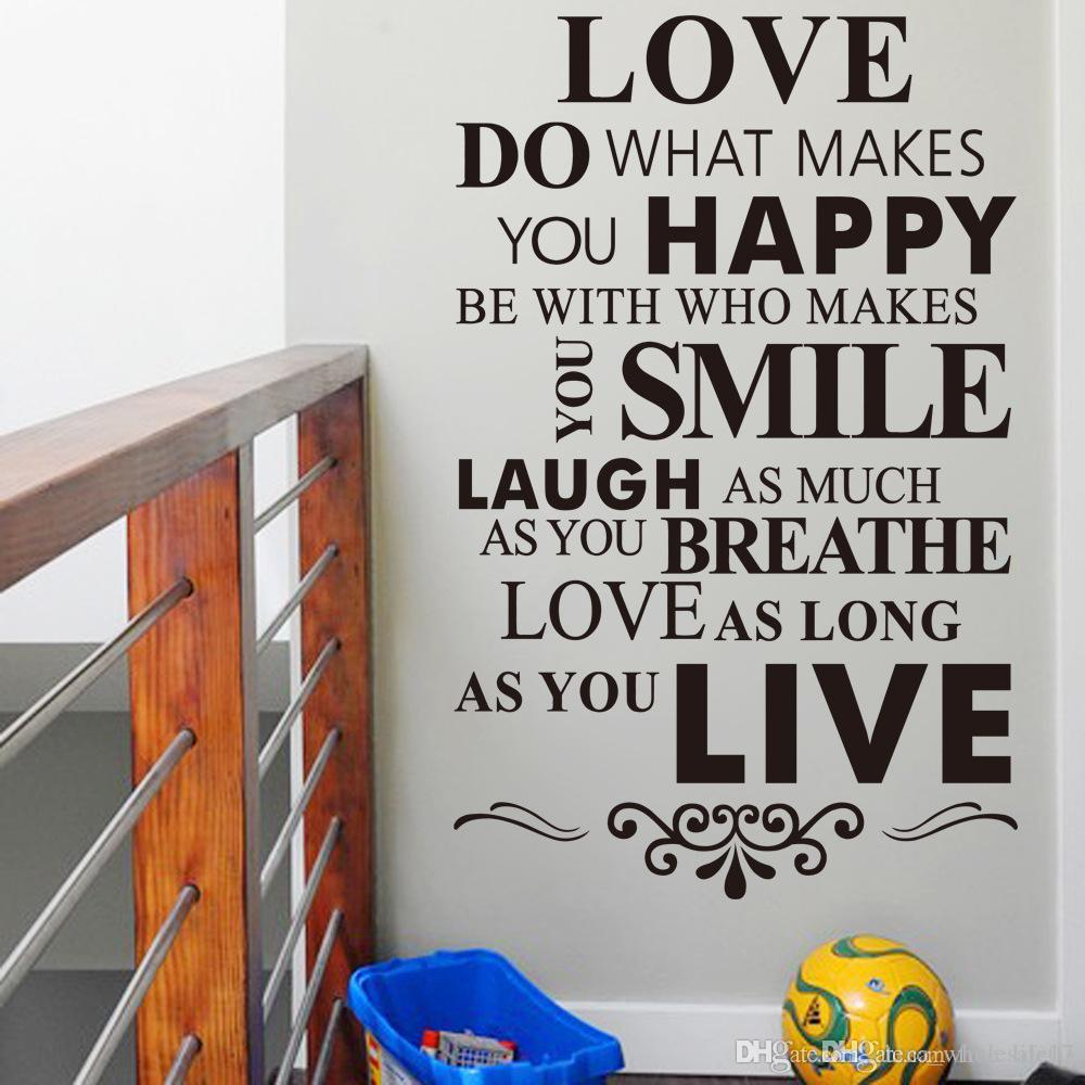 Happy Life Inspirational Quotes Wall Stickers Living Room Bedroom Home  Decorations Diy Pvc Mural Art Walls Decal within Choose Happy Wood Wall Decor (Image 25 of 30)