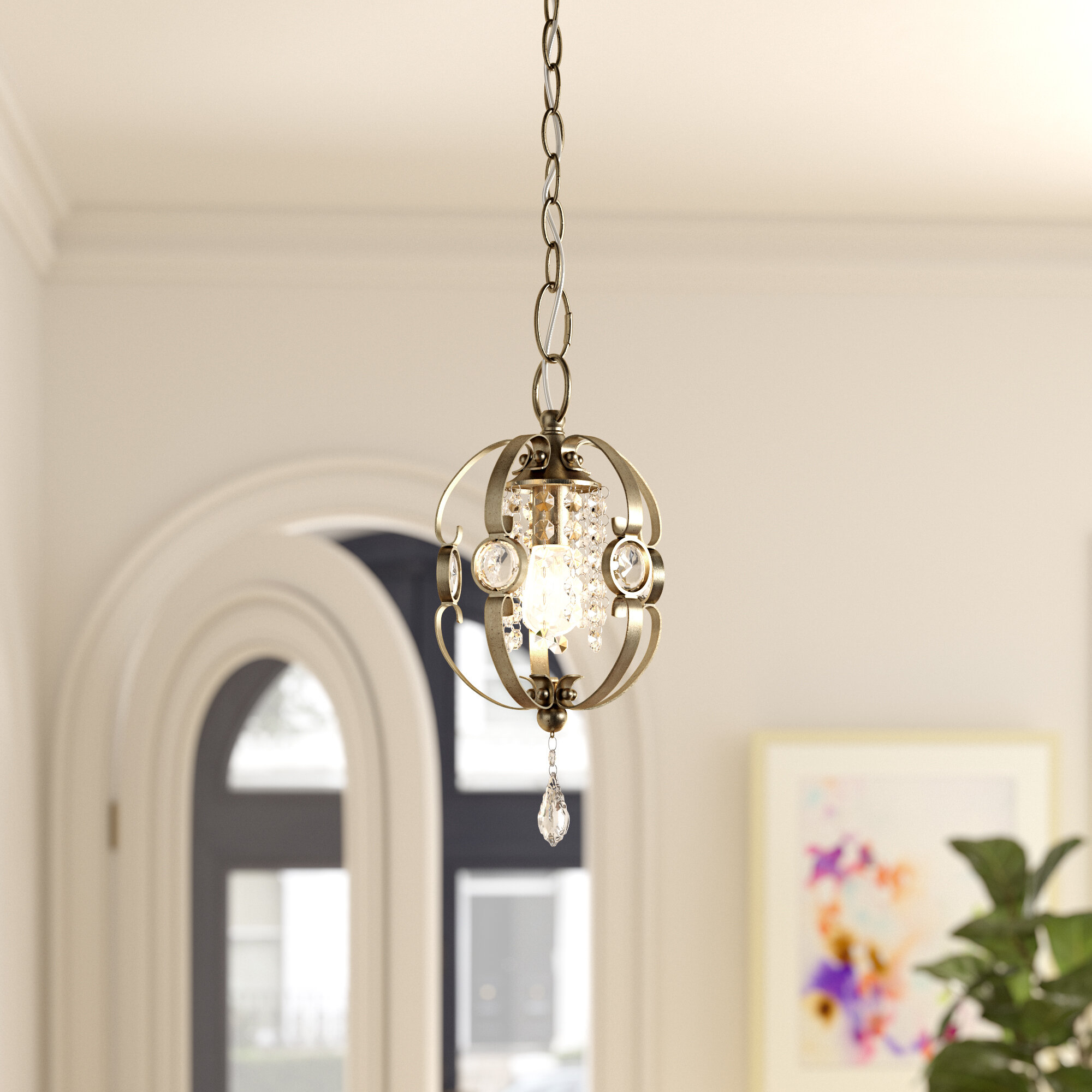 Hardouin 1-Light Single Geometric Pendant throughout Oriana 4-Light Single Geometric Chandeliers (Image 13 of 30)