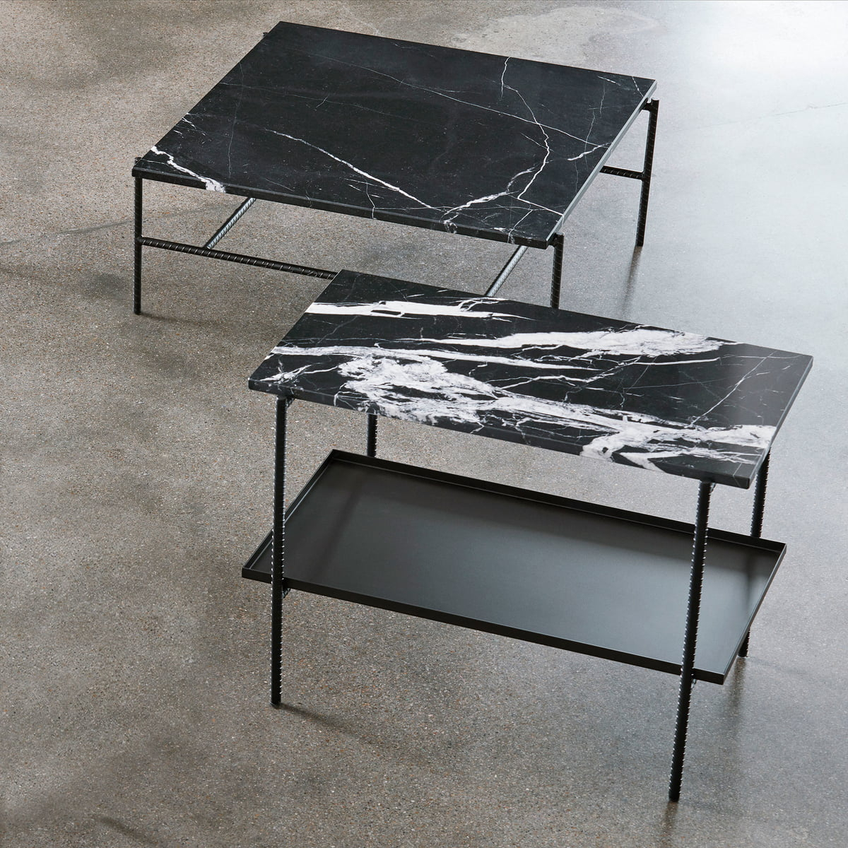 Hay - Rebar Coffee Table, 80 X 84 Cm, Marble / Black for Coffee Sign With Rebar Wall Decor (Image 9 of 30)