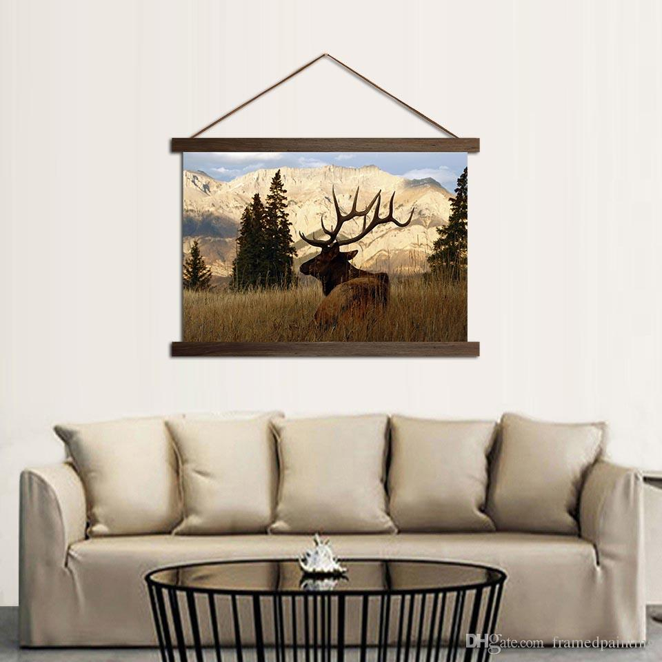 Hd Prints Canvas Mountain Deer In Forest Poster Wall Art Paintings Hanging Scroll Wooden Frame Pictures Home Decor Living Room For Scroll Framed Wall Decor (View 10 of 30)