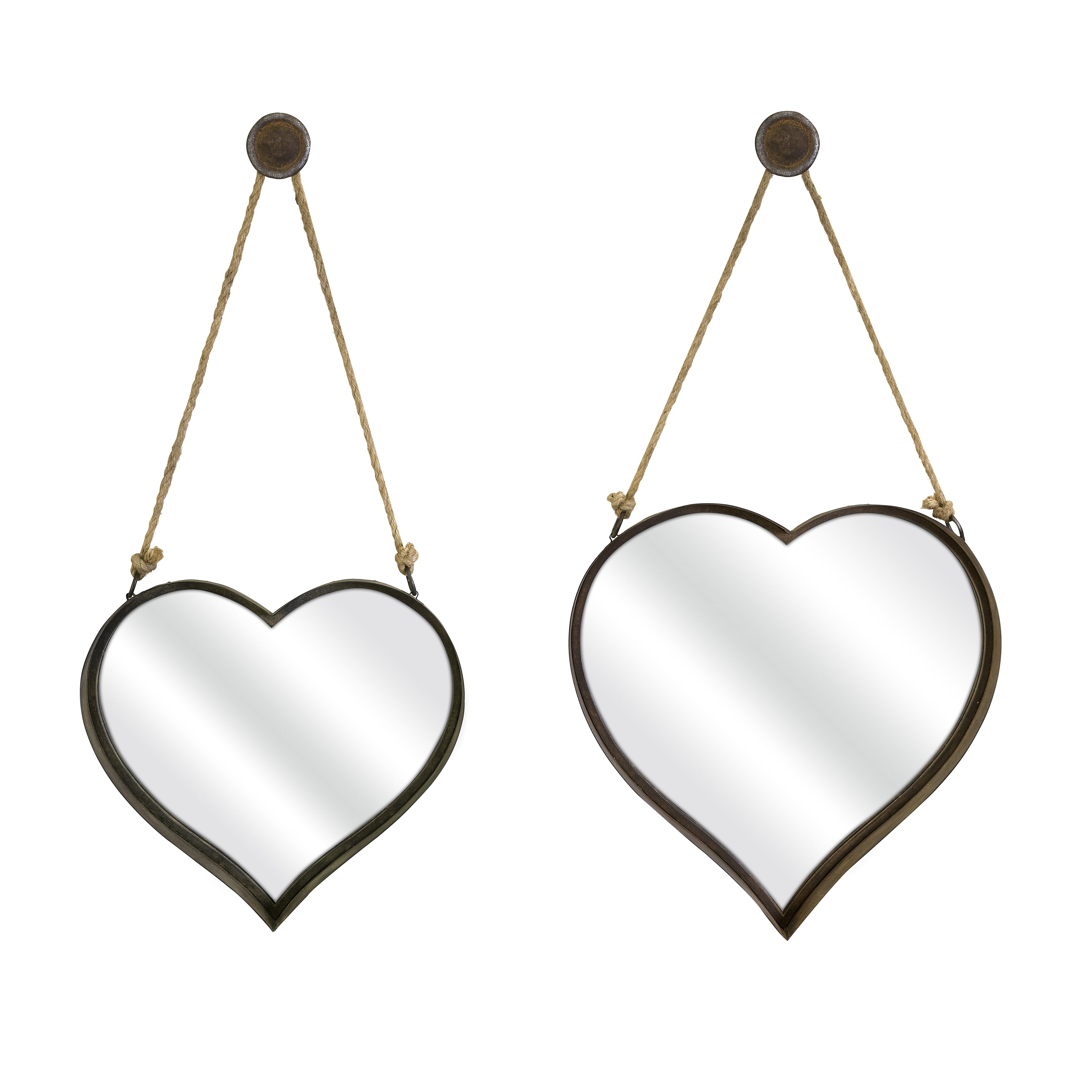 Heart Shape Wall Mirrors – Set Of 2 Throughout 2 Piece Heart Shaped Fan Wall Decor Sets (View 4 of 30)