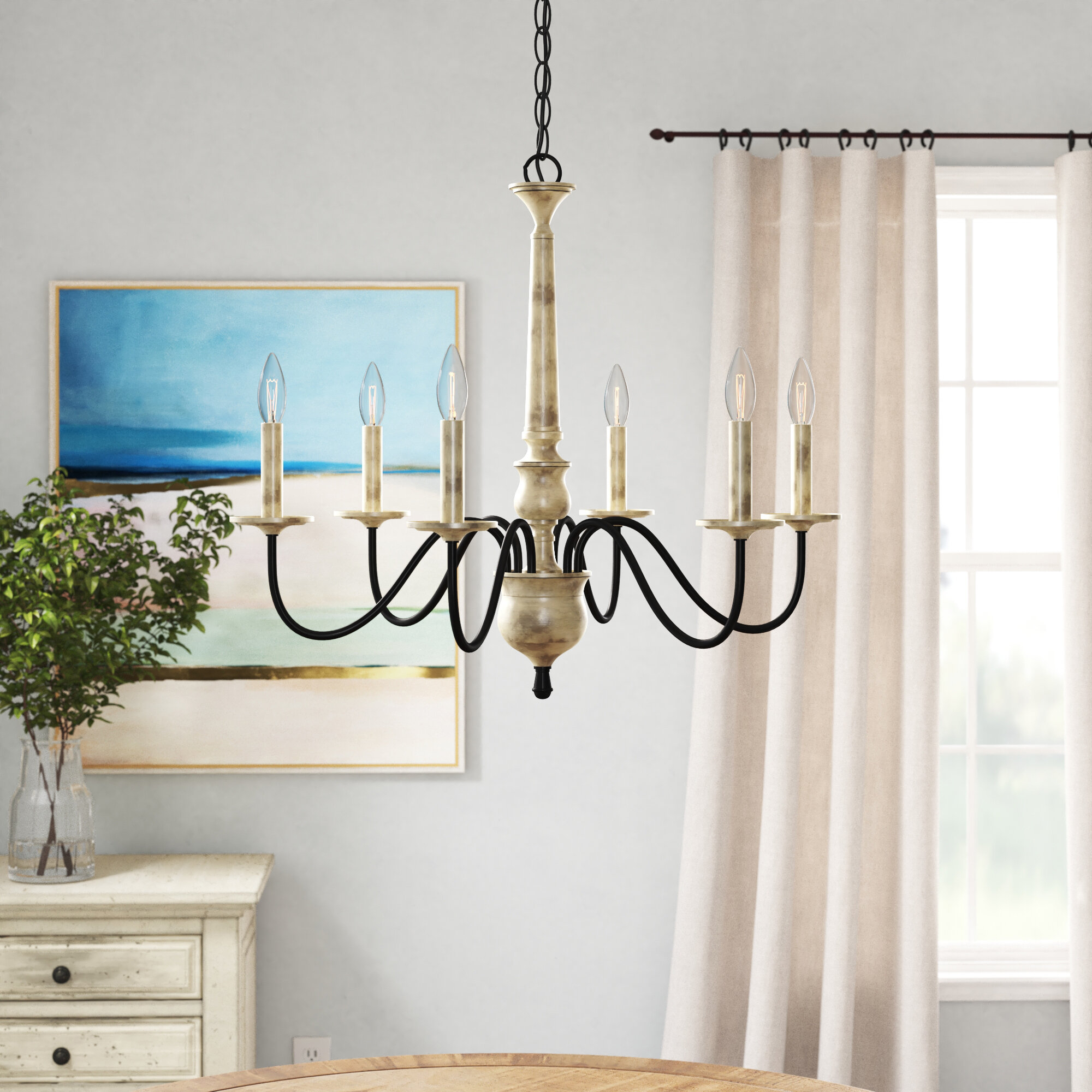 Helen 6 Light Chandelier Within Bouchette Traditional 6 Light Candle Style Chandeliers (View 19 of 30)