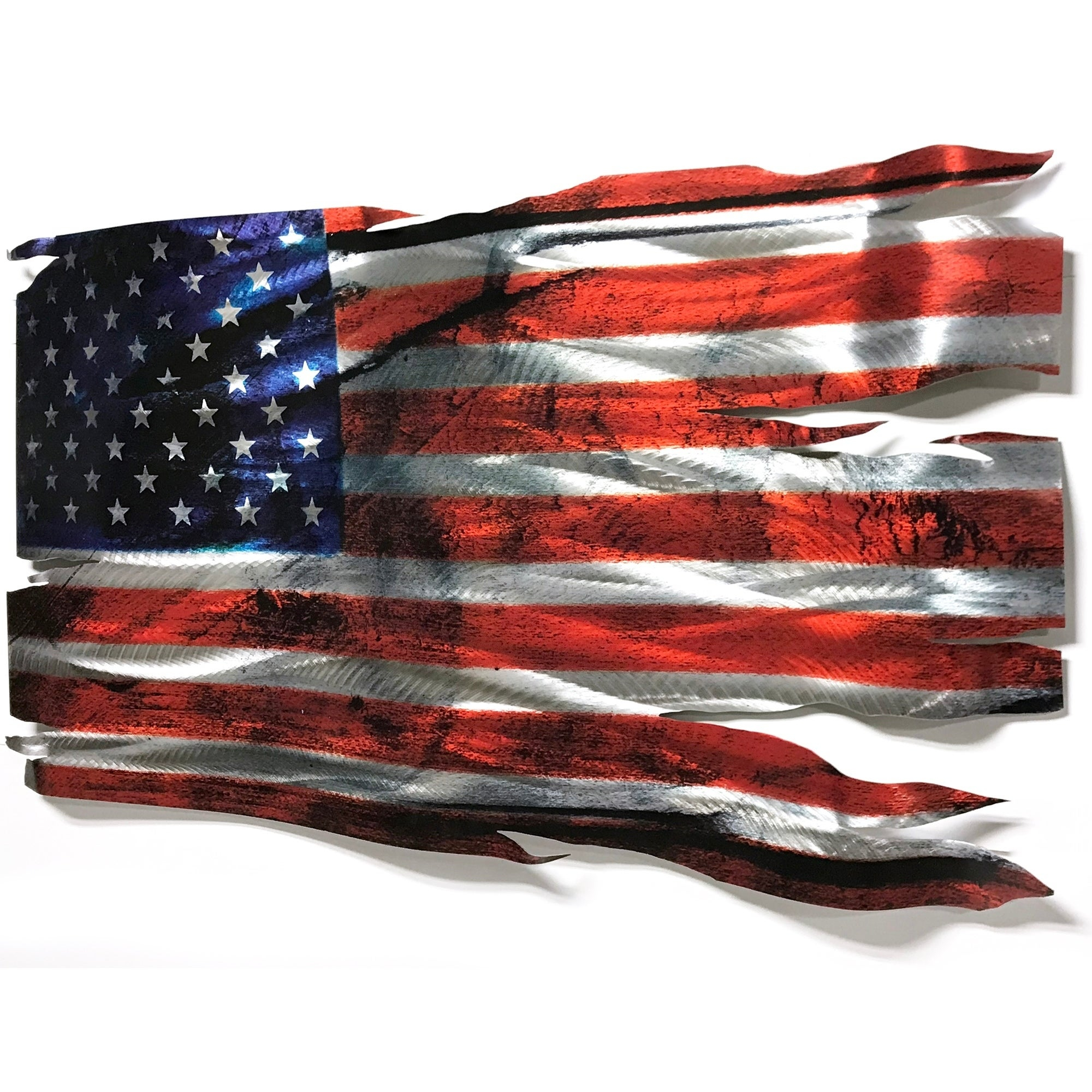 Helena Martin 'tattered Glory' 46In X 24In Large Metal American Flag Wall  Sculpture Inside American Flag 3D Wall Decor (Image 22 of 30)