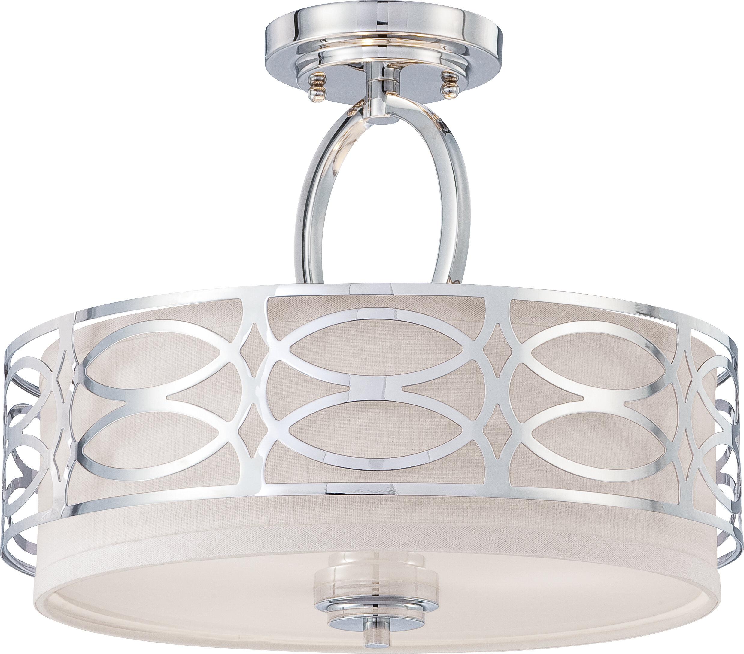 Helina 3 Light Semi Flush Mount For Farrier 3 Light Lantern Drum Pendants (View 23 of 30)