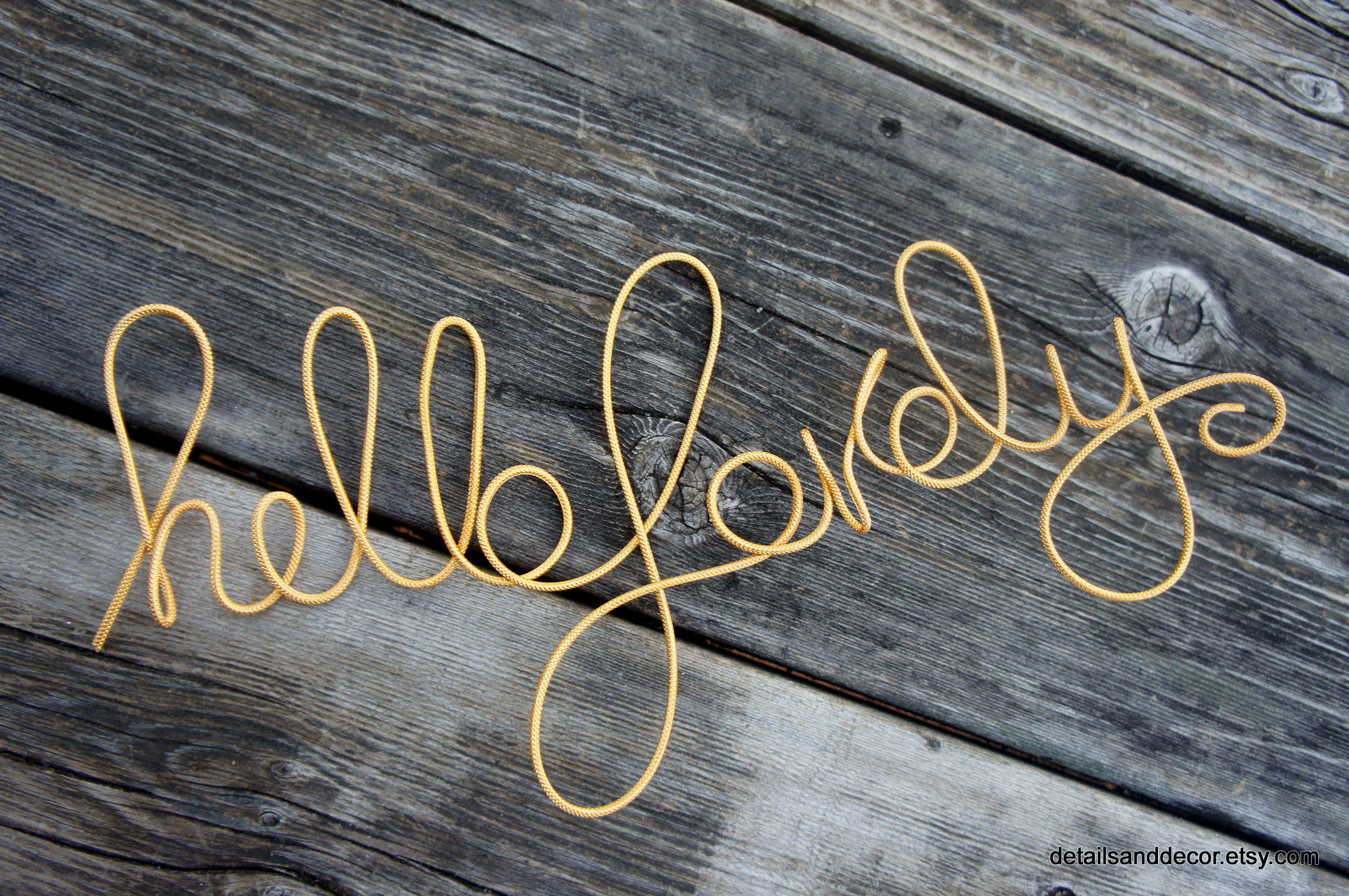 Hello Lovely Sign In Rope Wire For Fun Modern Room Wall Decor Pertaining To Metal Rope Wall Sign Wall Decor (View 19 of 30)