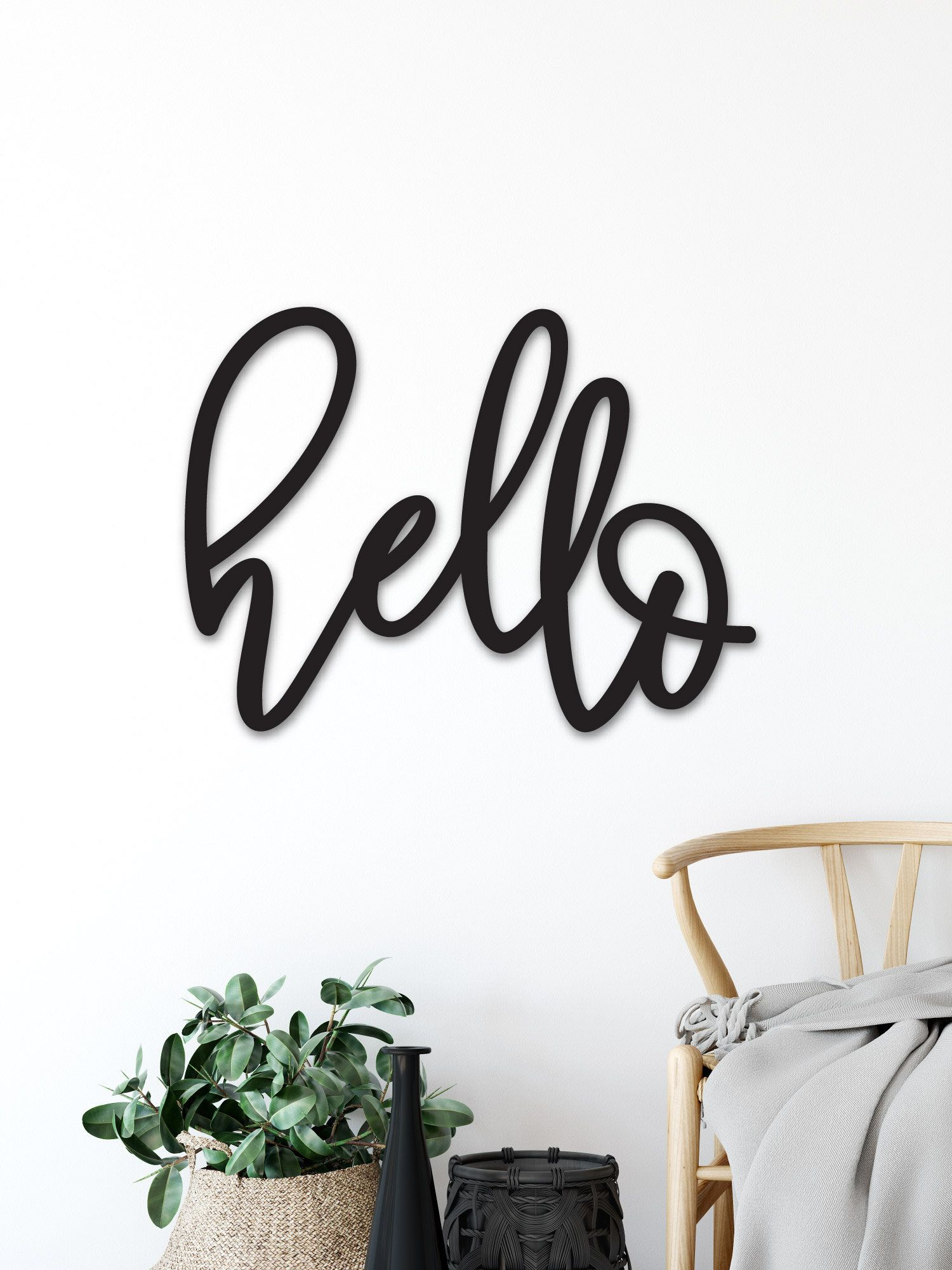 """Hello Wood Word Cutout, Wooden Letters, Welcome Sign Laser inside In-A-Word """"welcome"""" Wall Decor (Image 11 of 30)"""