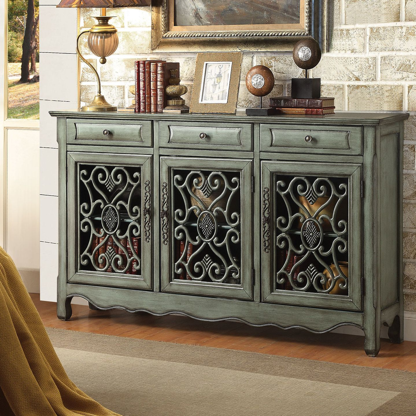 Helvic 3 Drawer 3 Door Accent Cabinet | Farmhouse Furniture intended for Mauzy Sideboards (Image 11 of 30)