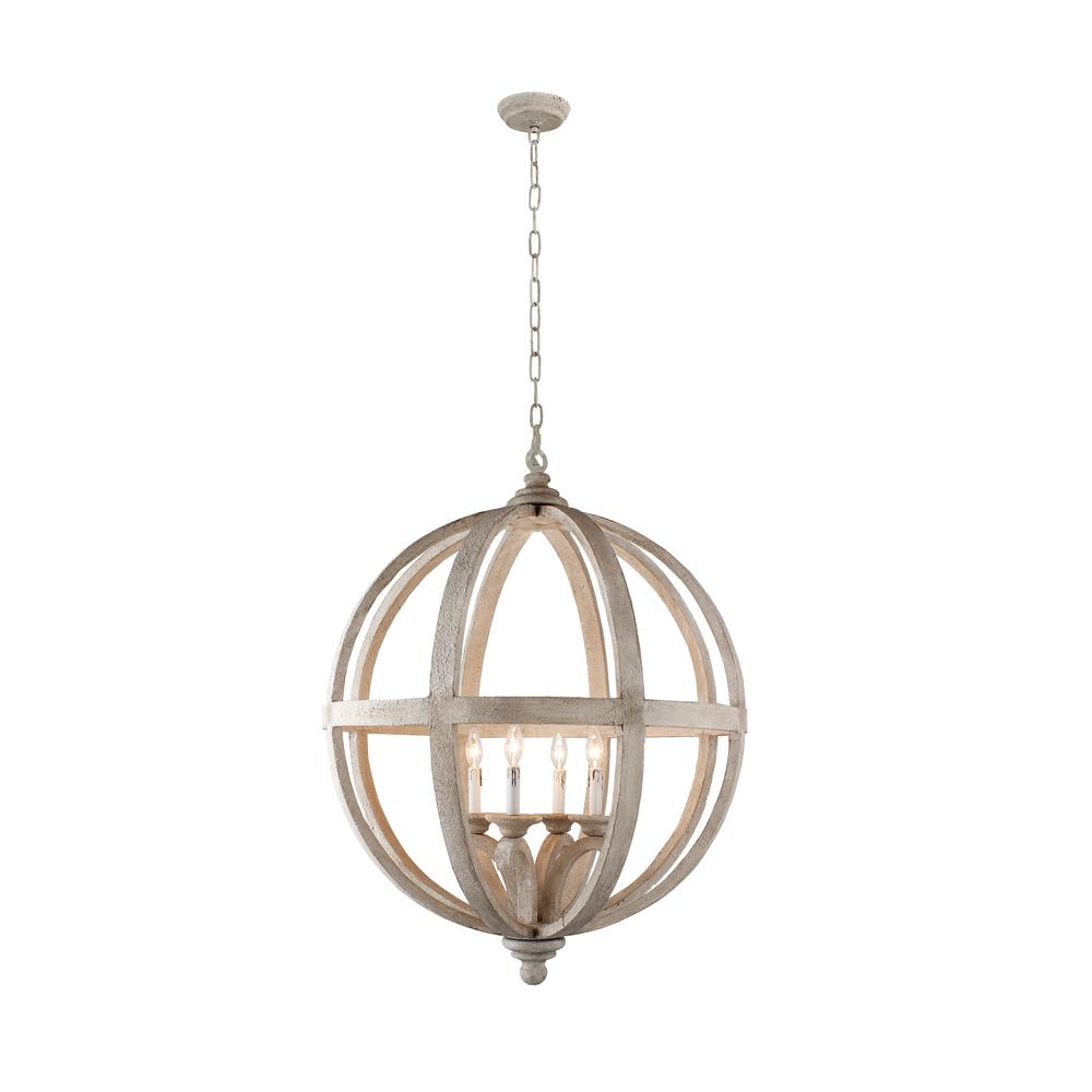 Hercules 4-Light Brown Wood Globe Chandelier in Joon 6-Light Globe Chandeliers (Image 11 of 30)