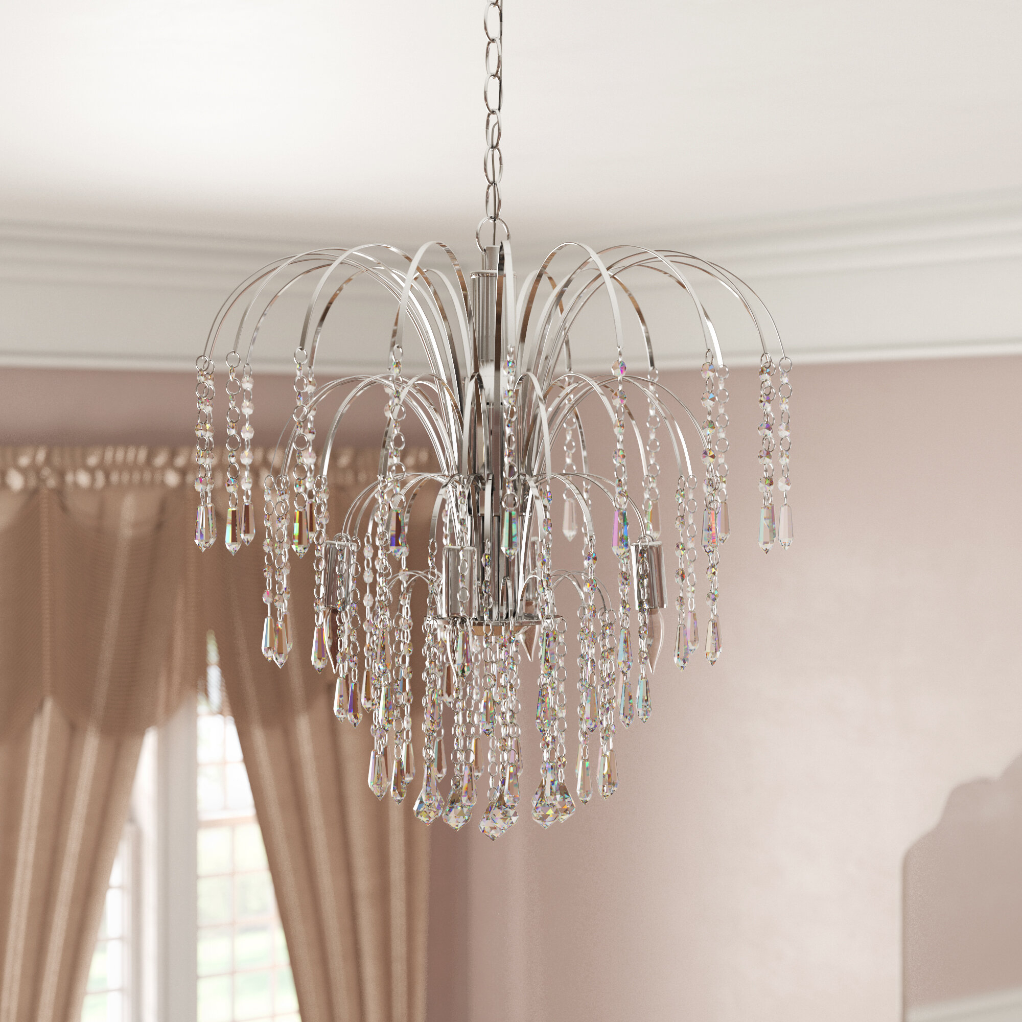 Hermilda 4-Light Crystal Chandelier inside Oriana 4-Light Single Geometric Chandeliers (Image 14 of 30)