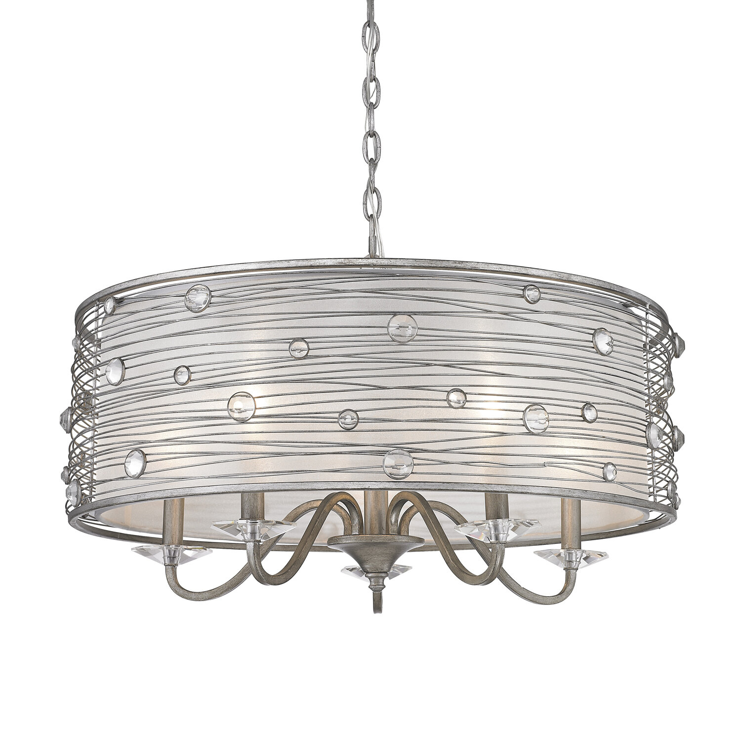 Hermione 5-Light Drum Chandelier intended for Hermione 1-Light Single Drum Pendants (Image 16 of 30)