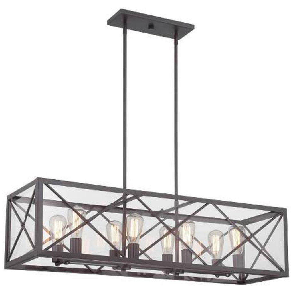High Line 8 Light Linear Chandelier In Satin Bronze With For Freemont 5 Light Kitchen Island Linear Chandeliers (View 18 of 30)