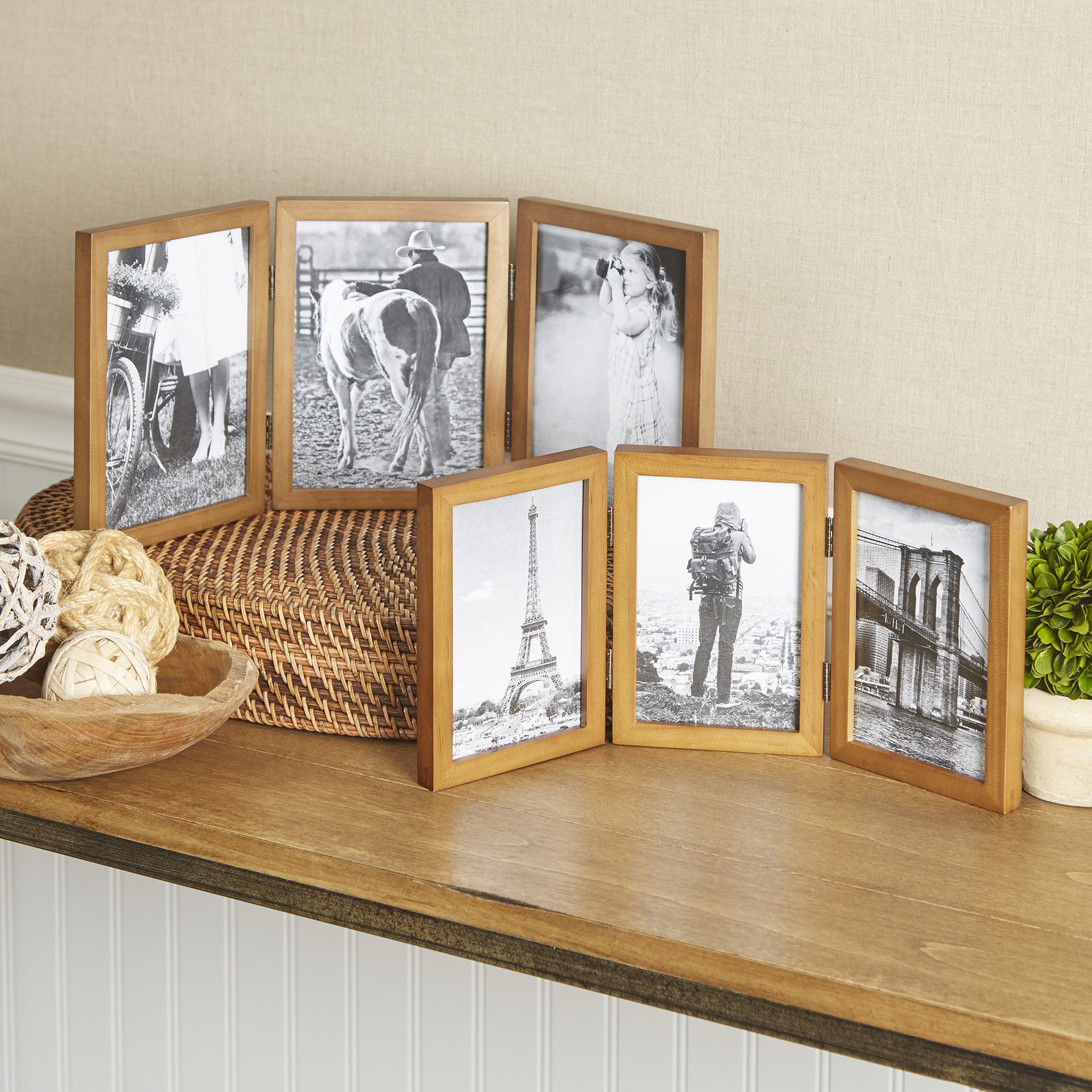 Hinged Triple Picture Frame With Regard To Millanocket Metal Wheel Photo Holder Wall Decor (View 15 of 30)