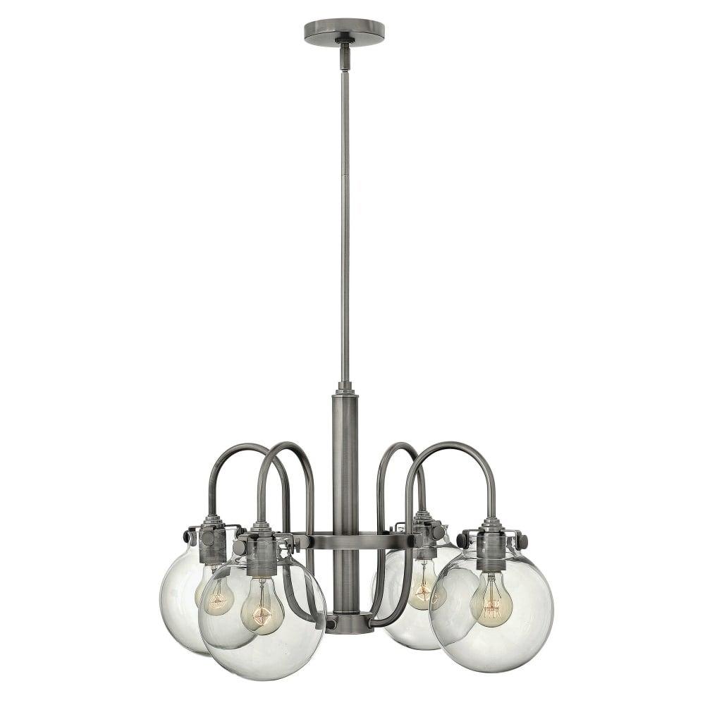 Hinkley Lighting 3044 Congress 4 Light 1 Tier Chandelier With Clear Globe Shade – N/a Intended For Hewitt 4 Light Square Chandeliers (View 8 of 30)