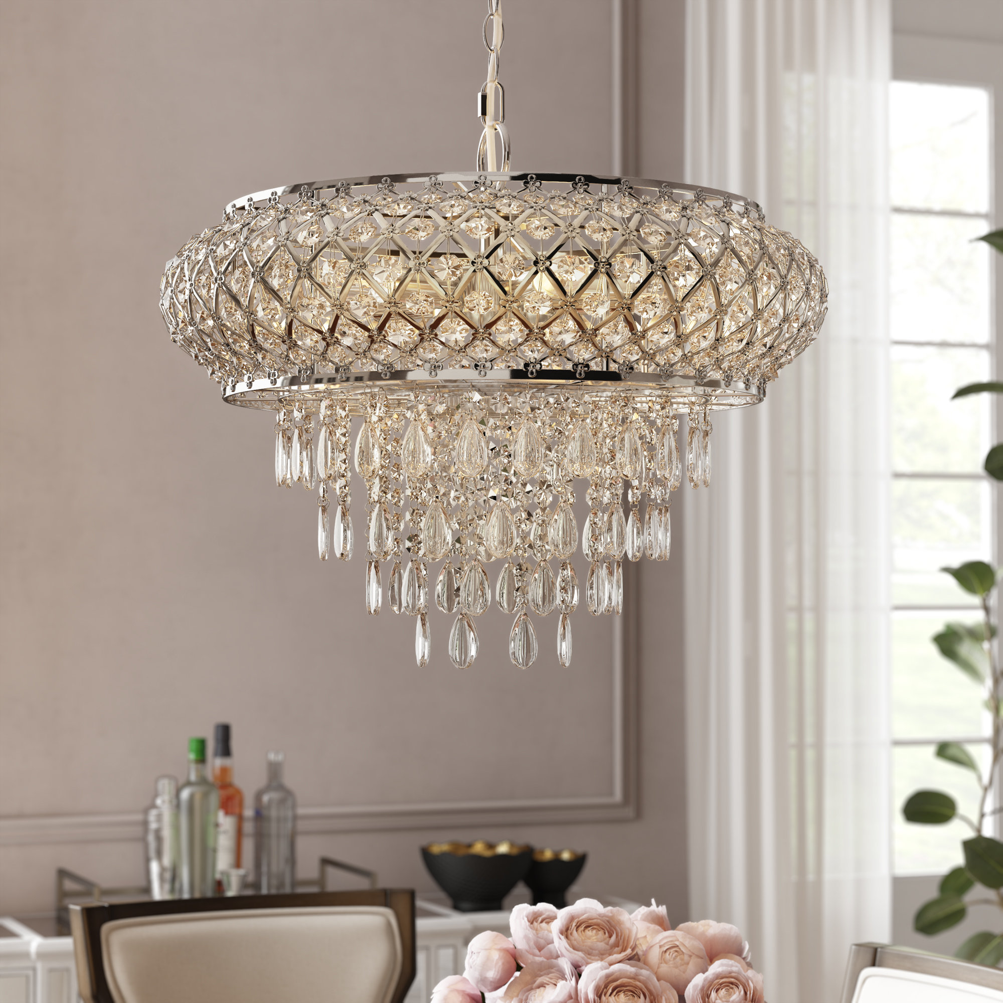 Hoang Tiered 5-Light Crystal Chandelier intended for Aldgate 4-Light Crystal Chandeliers (Image 16 of 30)