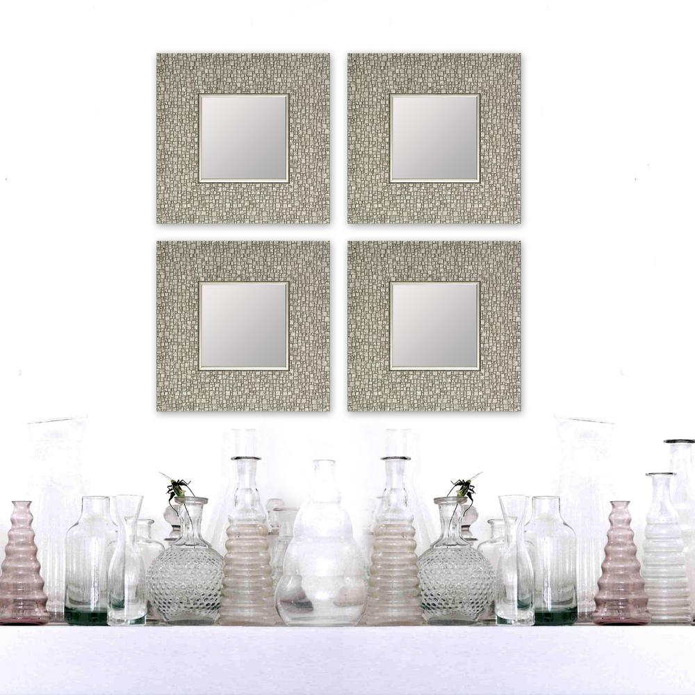 Hobbitholeco 11.25 In. X 11.25 In. Mosaic Silver Square Accent Mirror  (4-Pack) with regard to Lidya Frameless Beveled Wall Mirrors (Image 17 of 30)