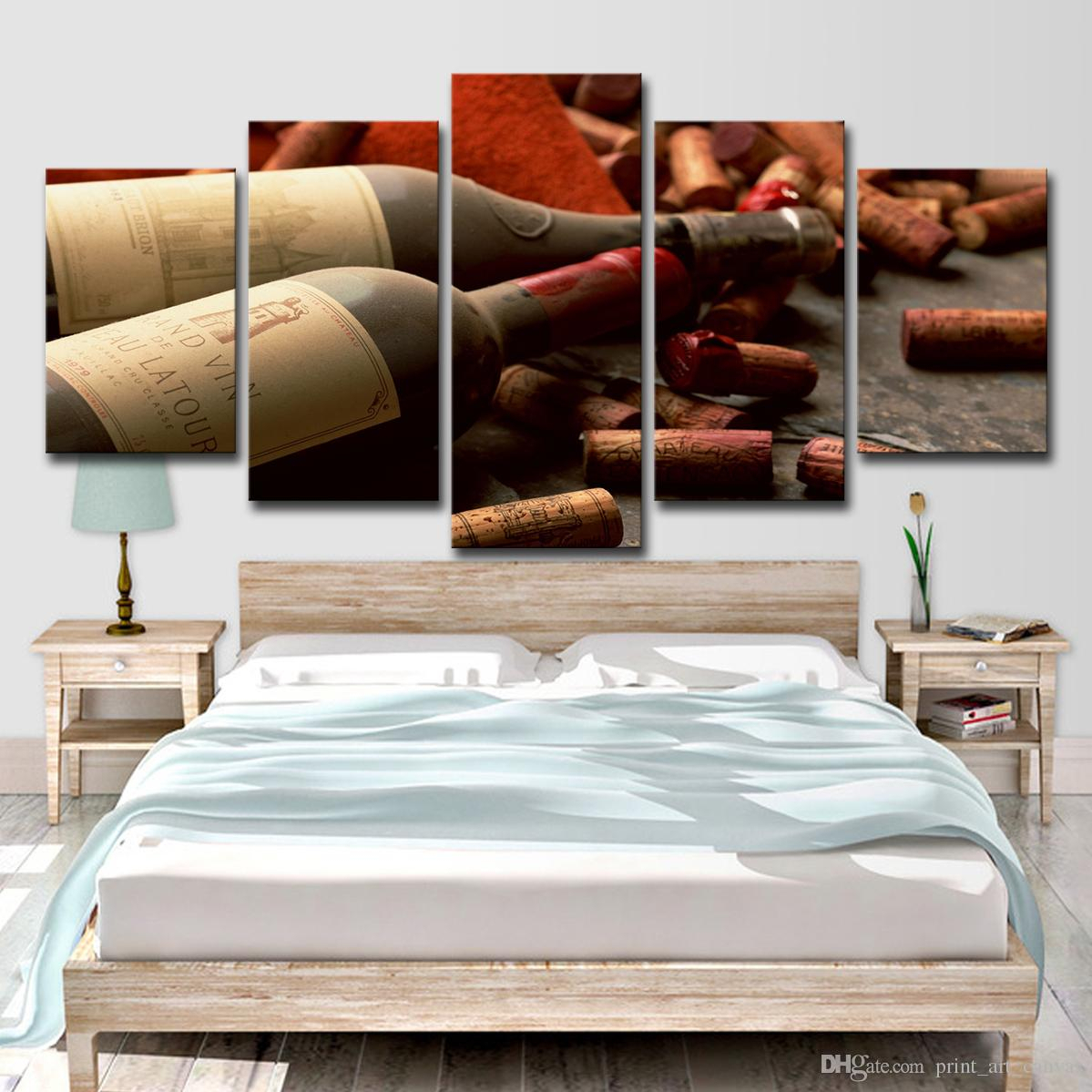 Home Decor Hd Prints Pictures Kitchen Canvas Wall Art Poster 5 Pieces Grape Red Wine Cork Bottle Stopper Paintings In Latour Wall Decor (View 23 of 30)