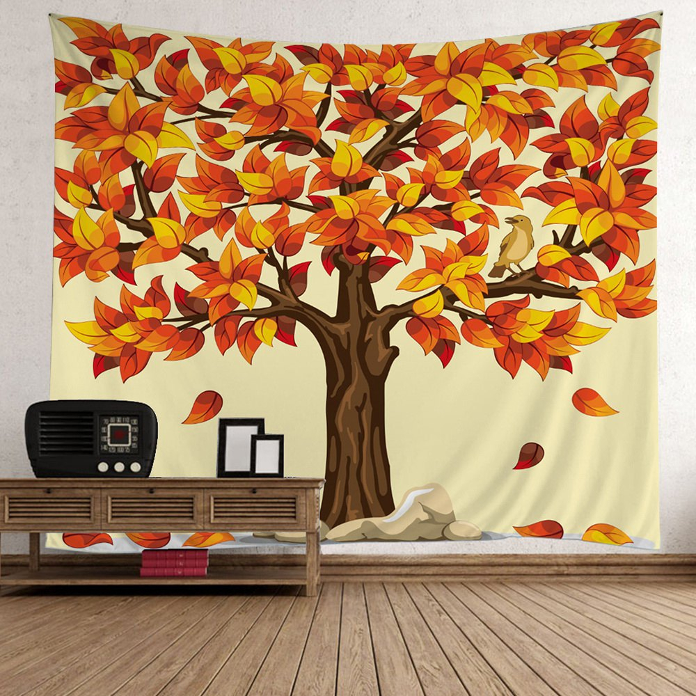 Home Decor Tree Falling Leaves Tapestry regarding Flowing Leaves Wall Decor (Image 17 of 30)