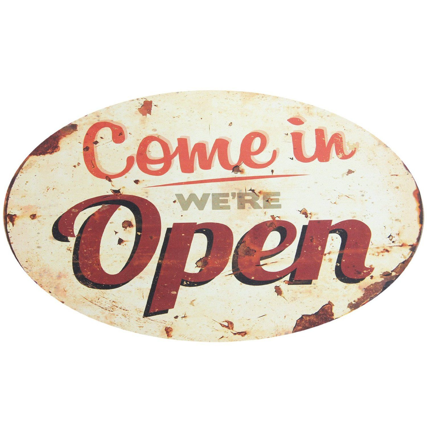 Home Decoration Retro Style Mdf Come In We're Open Sign In Casual Country Eat Here Retro Wall Decor (View 20 of 30)