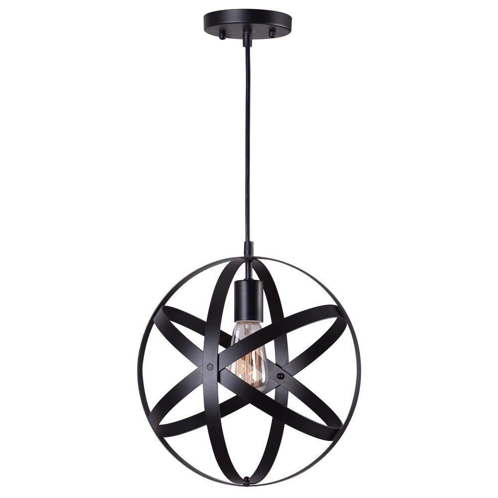 Home Decorators Collection 1 Light Black Orb Mini Pendant With Black Metal Strap Design Intended For 1 Light Single Star Pendants (View 20 of 30)