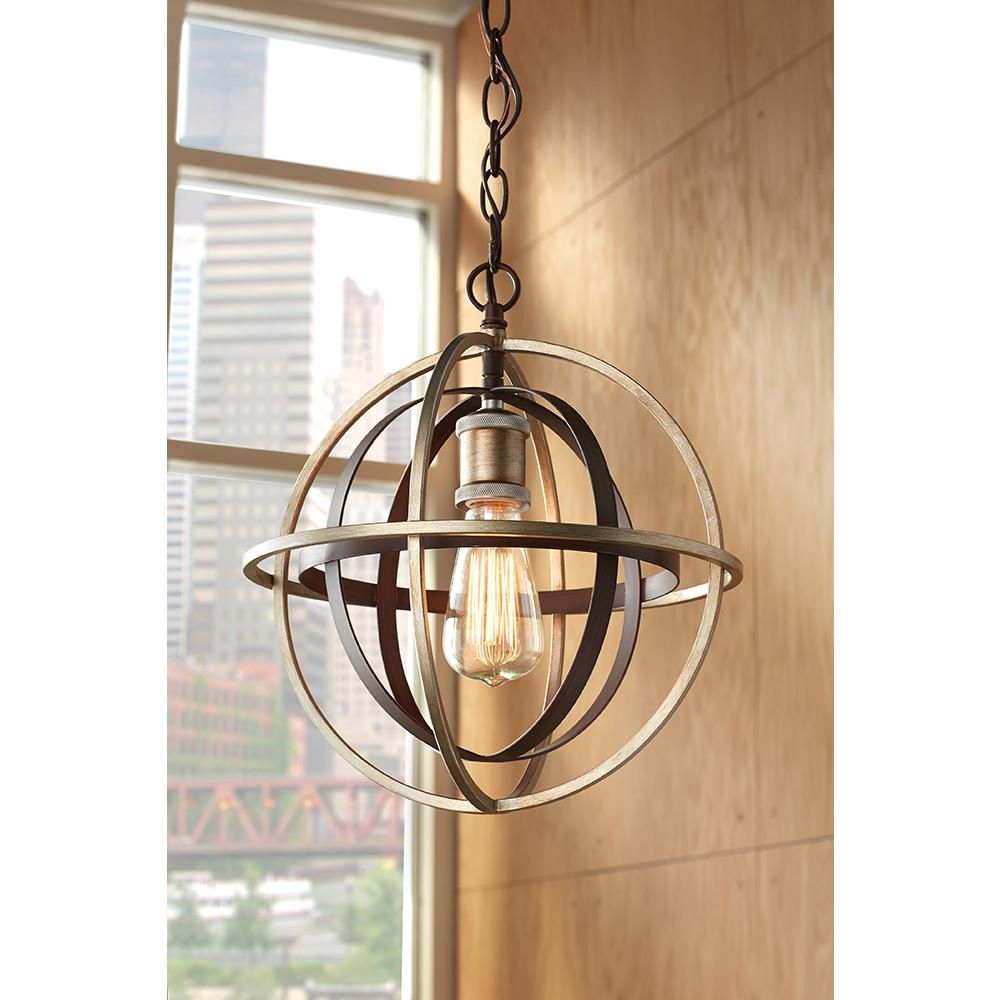 Home Decorators Collection 1 Light Bronze And Champagne With Adcock 3 Light Single Globe Pendants (View 14 of 30)