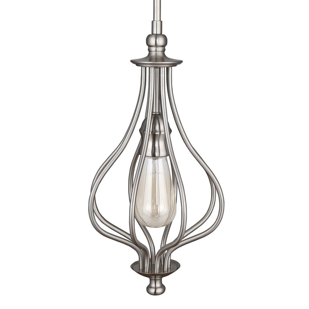 Home Decorators Collection 1-Light Brushed Nickel Teardrop Mini Pendant with 1-Light Single Teardrop Pendants (Image 17 of 30)
