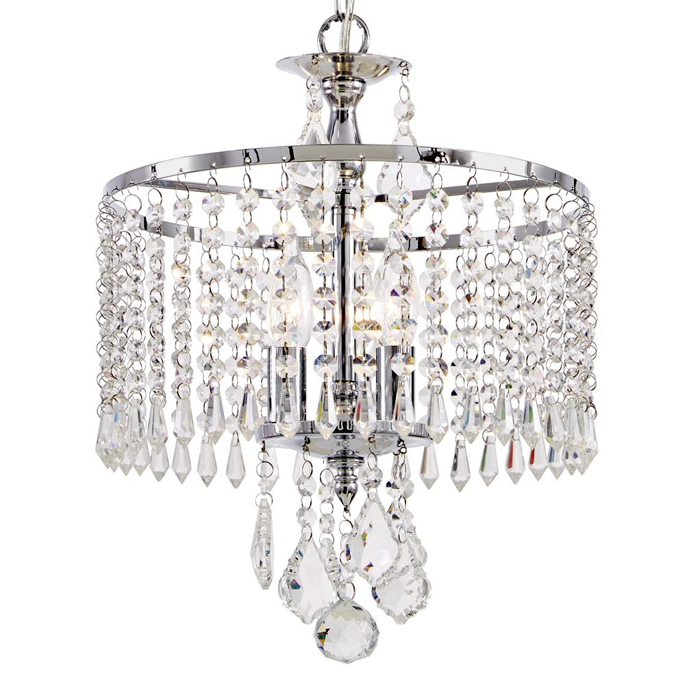 Home Decorators Collection 3 Light Polished Chrome Mini Chandelier With K9 Hanging Crystals For Clea 3 Light Crystal Chandeliers (View 8 of 30)