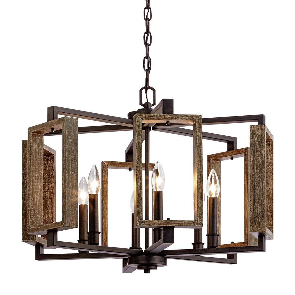 Home Decorators Collection 6 Light Aged Bronze Pendant With Wood Accents For Carmen 6 Light Kitchen Island Linear Pendants (View 17 of 30)