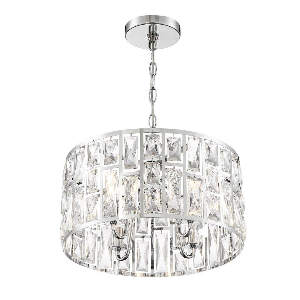 Home Decorators Collection Kristella 4 Light Chrome Chandelier With Clear Crystal Shade Inside Emaria 4 Light Unique / Statement Chandeliers (View 22 of 30)