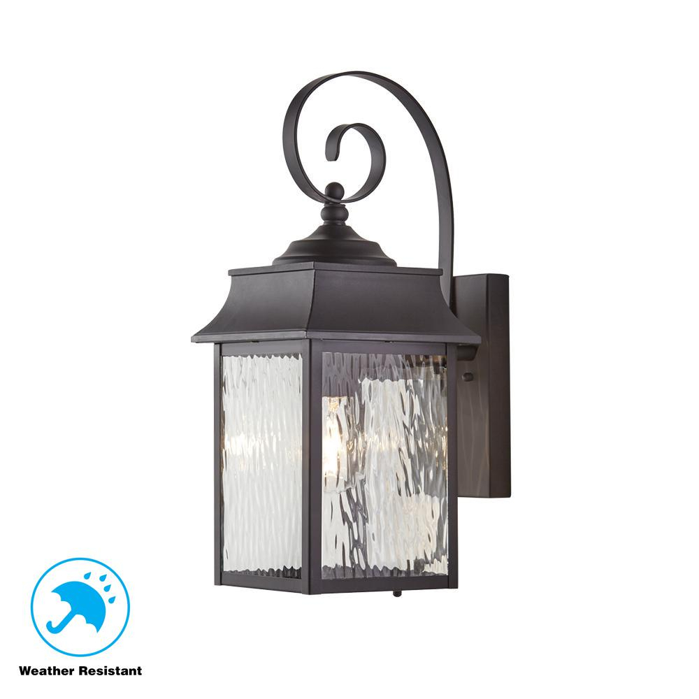 Home Decorators Collection Scroll 1 Light Black Outdoor Small Wall Mount Lantern Pertaining To Janette 5 Light Wagon Wheel Chandeliers (View 24 of 30)