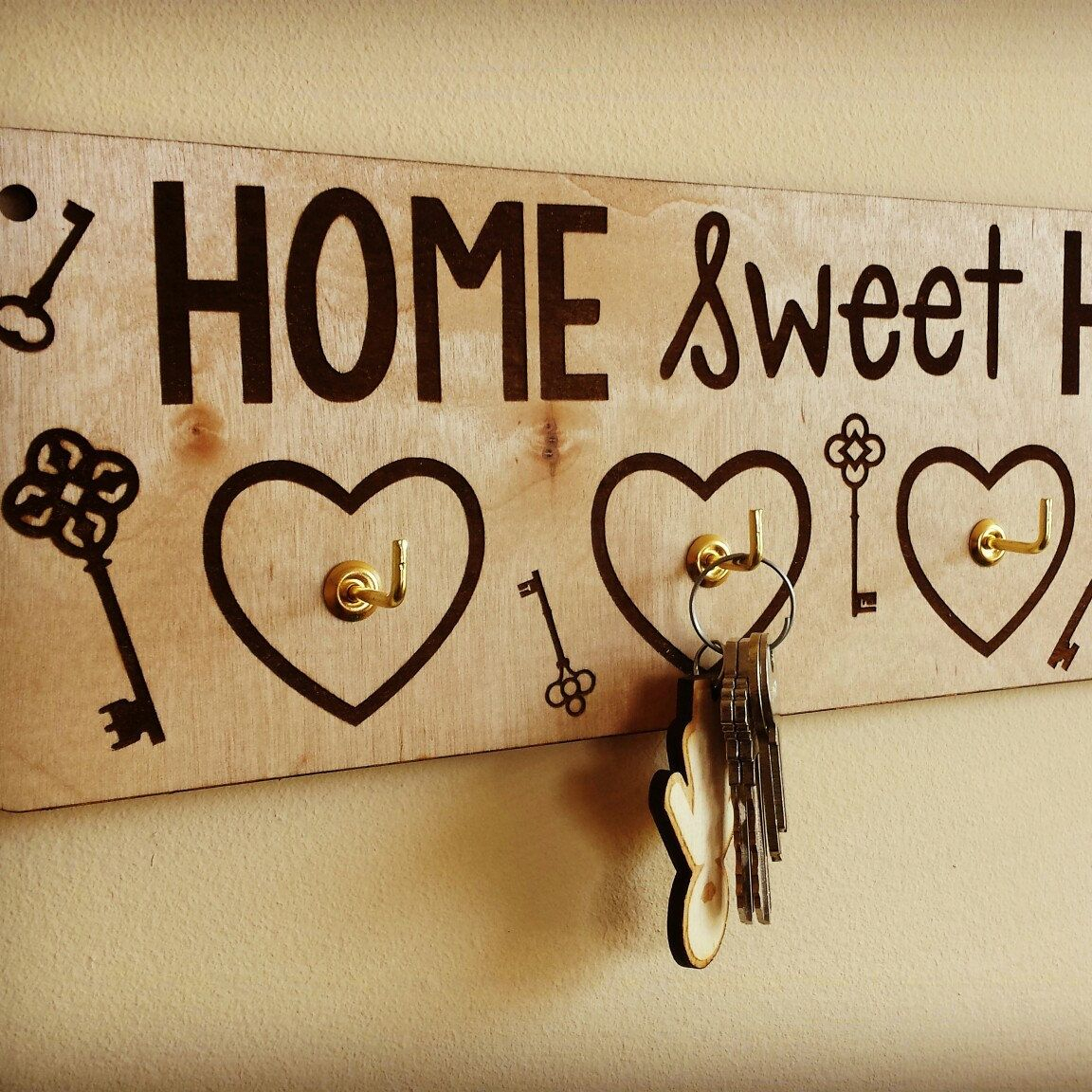 Home Laser Cut Engraved Key Holder For Wall – Wooden Key With Laser Engraved Home Sweet Home Wall Decor (View 20 of 30)