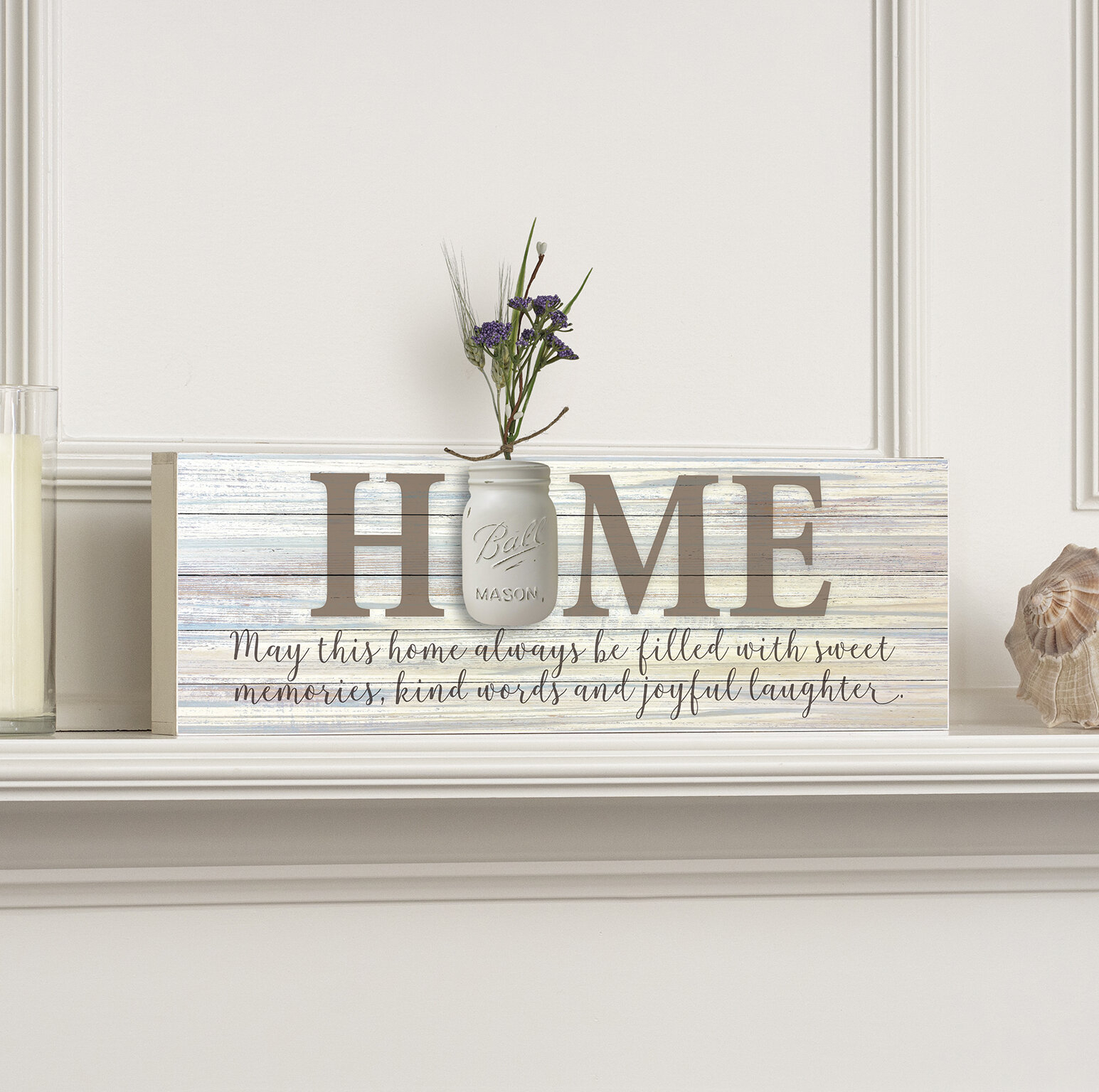 "Home Mason Jar Word Box Plaque Wall Décor intended for In-A-Word ""welcome"" Wall Decor By Fireside Home (Image 10 of 30)"