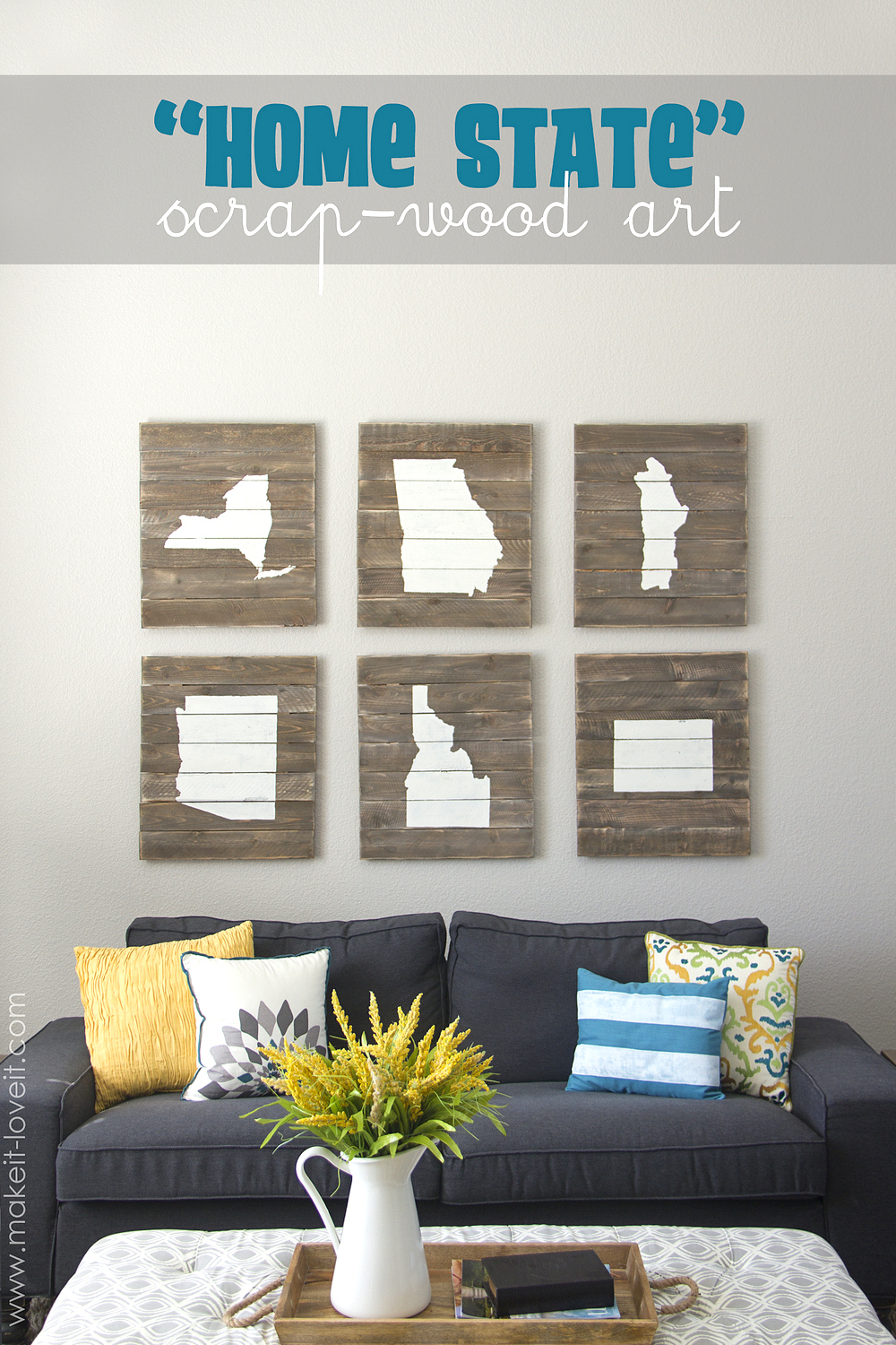 "Home State"" Scrap-Wood Art – Make It And Love It inside Let Whatever You Do Today Be Enough Wood Wall Decor (Image 10 of 30)"